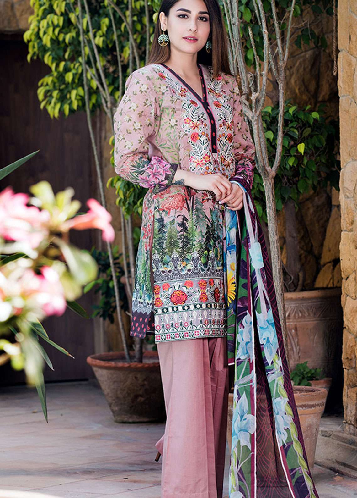 Adamjee Embroidered Lawn Unstitched 3 Piece Suit AD19L 11 - Spring / Summer Collection