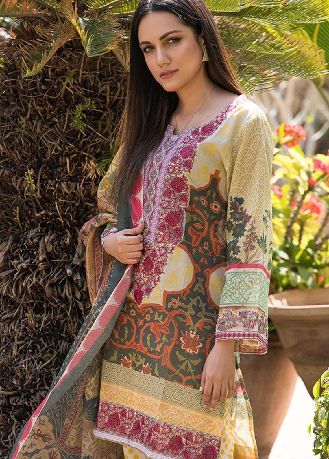 Adamjee Embroidered Lawn Unstitched 3 Piece Suit AD19L 12 - Spring / Summer Collection