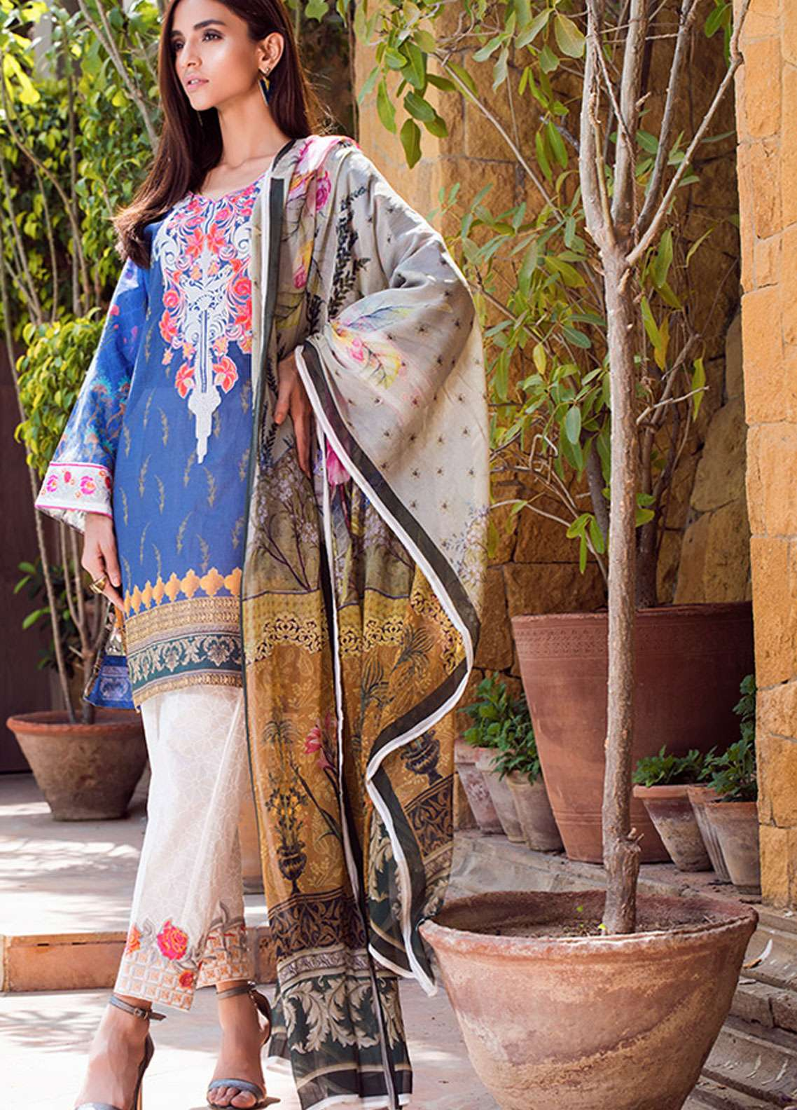 Adamjee Embroidered Lawn Unstitched 3 Piece Suit AD19L 15 - Spring / Summer Collection