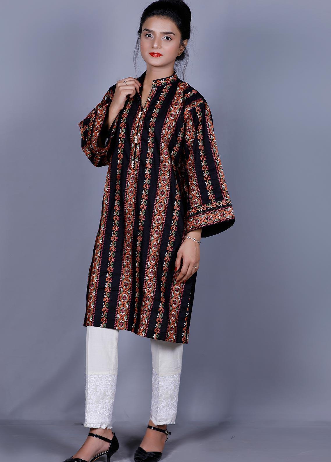 Addee Embroidered Cotton Stitched Kurtis K003 Black