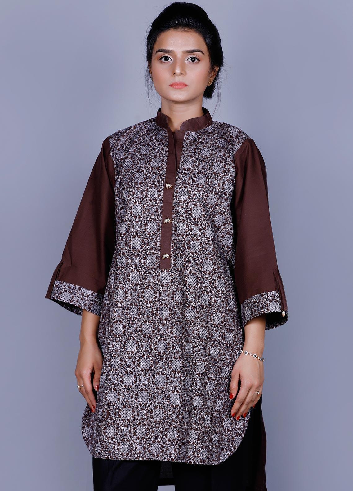 Addee Embroidered Cotton Stitched Kurtis K004 Brown