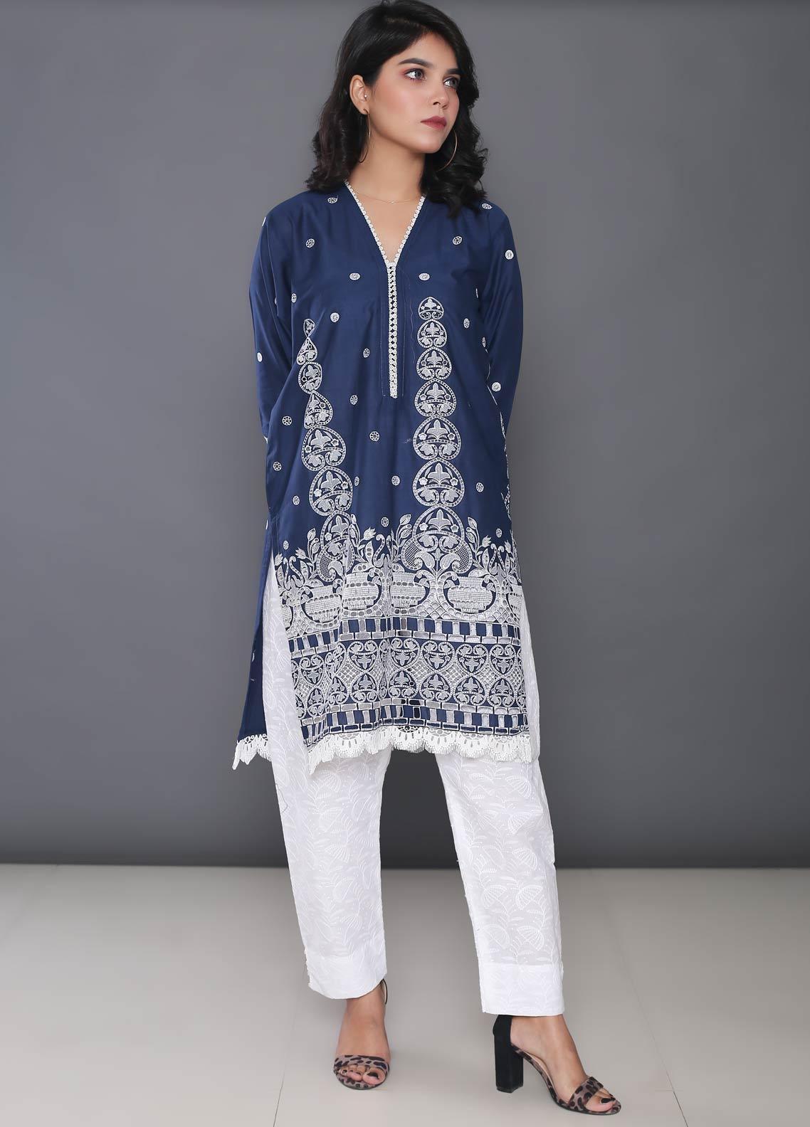 Addee Embroidered Cotton Stitched Kurtis K016 Blue