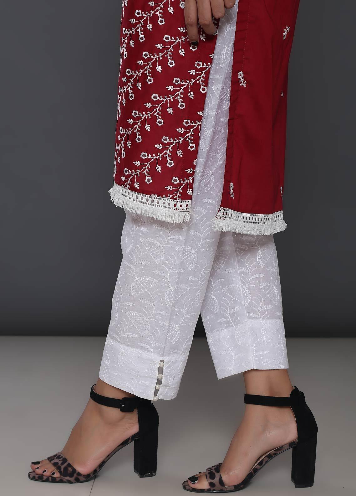 Addee Embroidered Cotton Stitched Trouser T10-W White