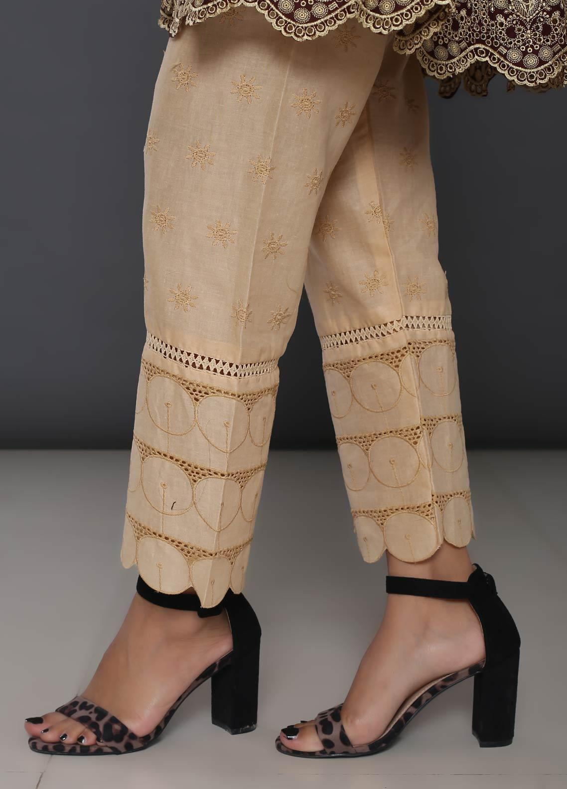 Addee Embroidered Cotton Stitched Trouser T235-F Foam