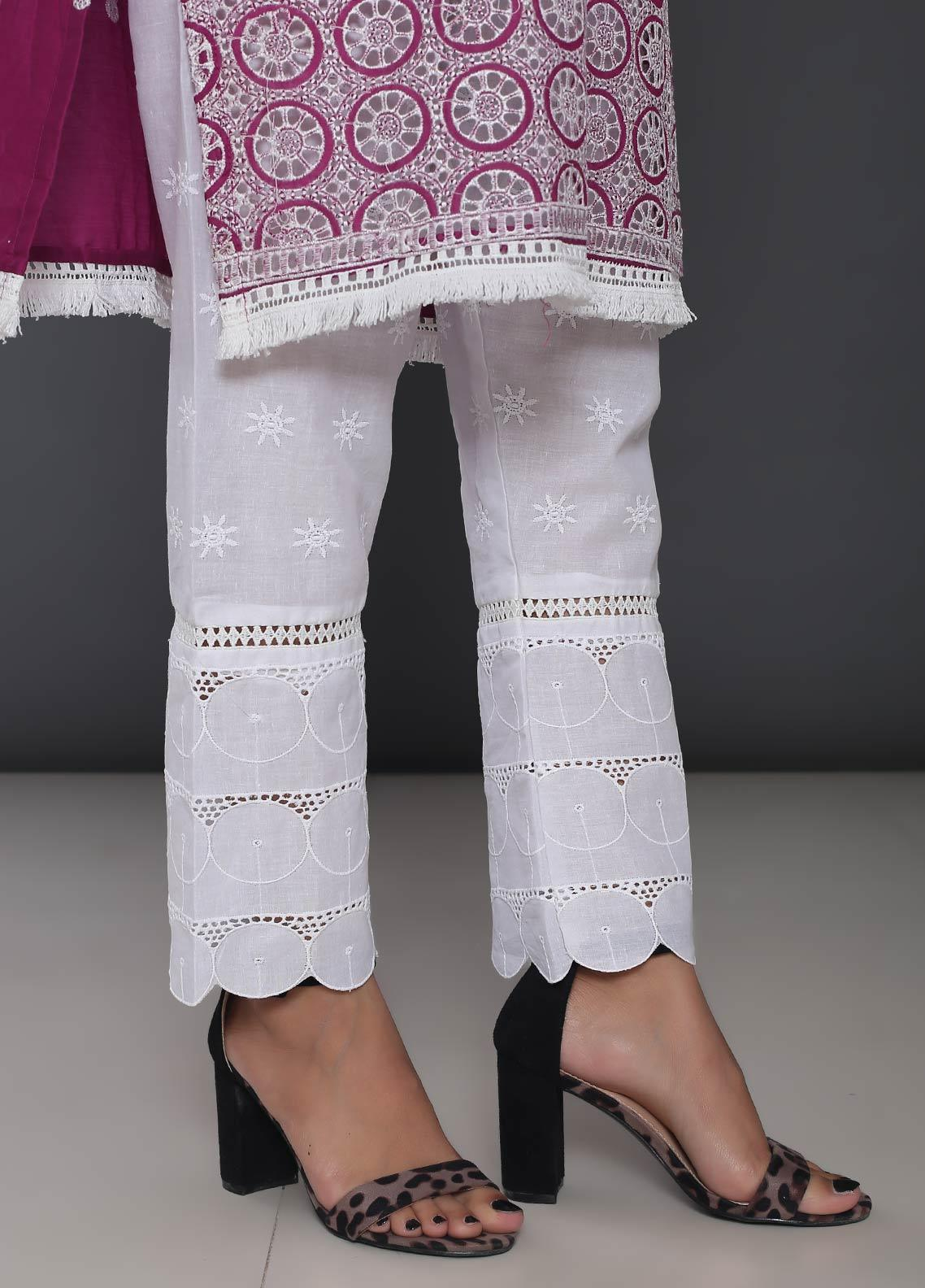 Addee Embroidered Cotton Stitched Trouser T235-W White