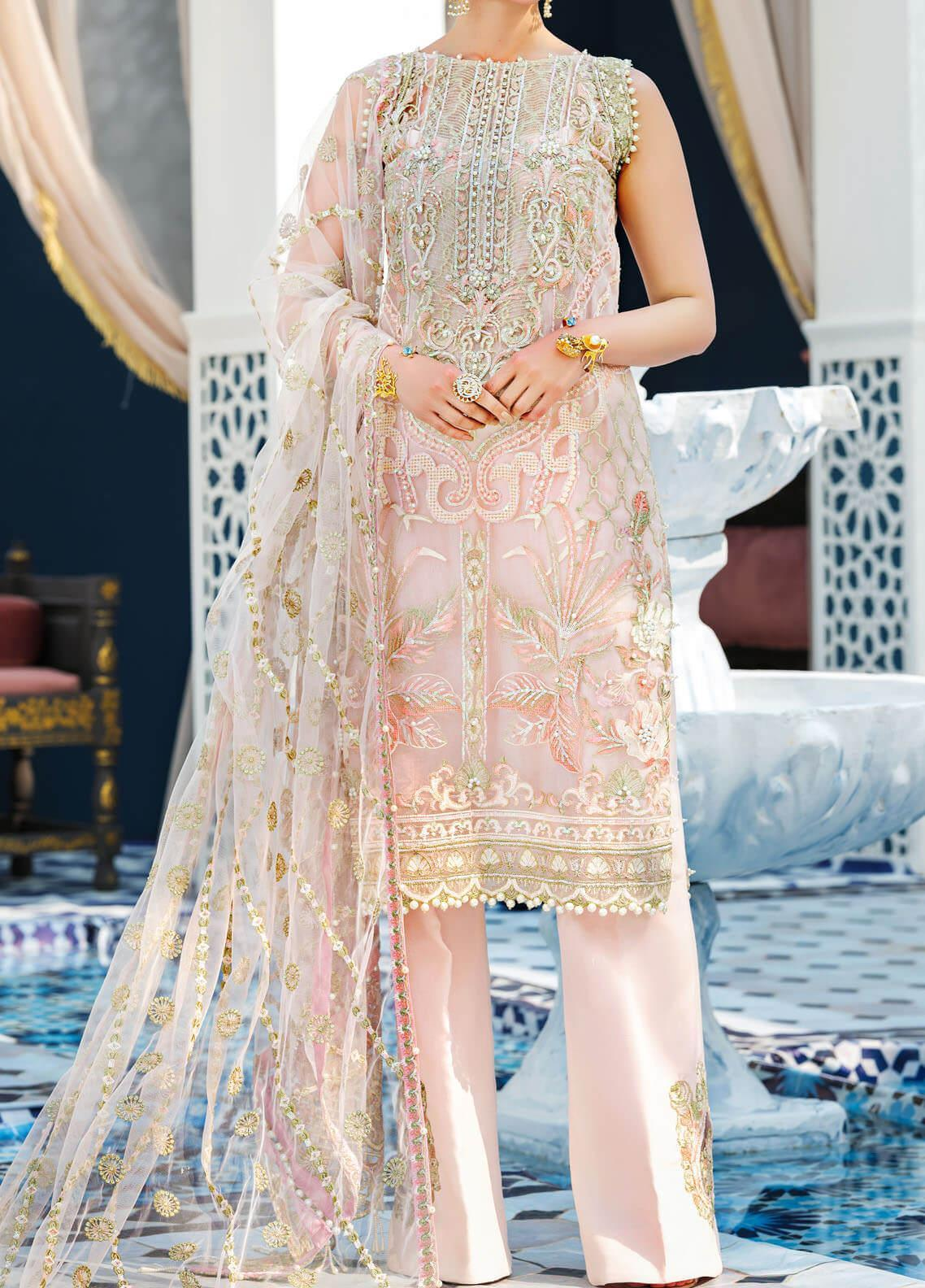 Adila by Gulaal Embroidered Net Unstitched 3 Piece Suit GL20A D-1 INES - Luxury Formal Collection