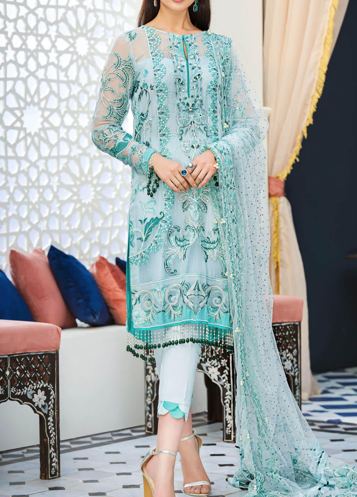 Adila by Gulaal Embroidered Chiffon Unstitched 3 Piece Suit GL20A D-2 IMANE - Luxury Formal Collection