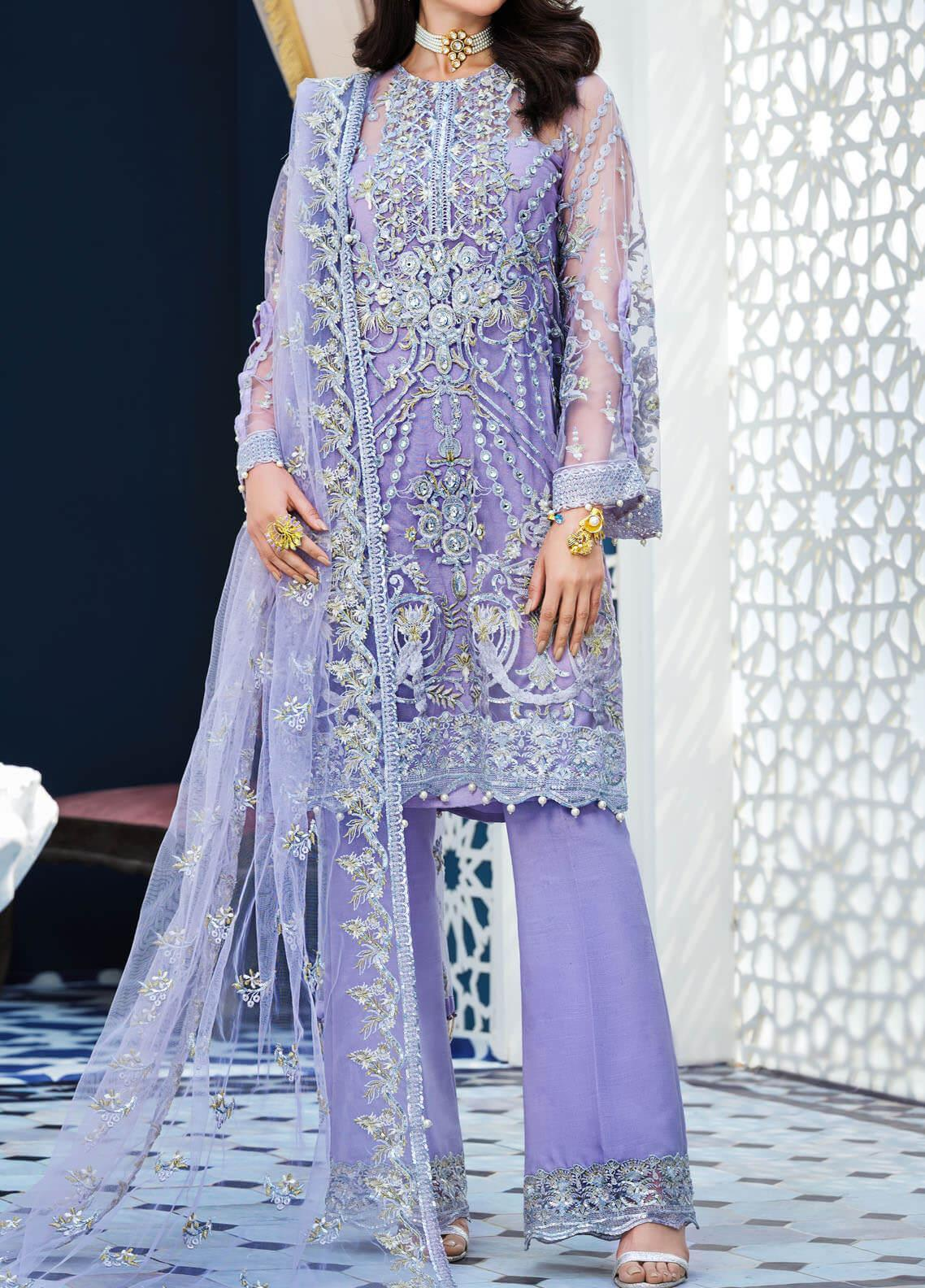 Adila by Gulaal Embroidered Net Unstitched 3 Piece Suit GL20A D-7 ALEAH - Luxury Formal Collection