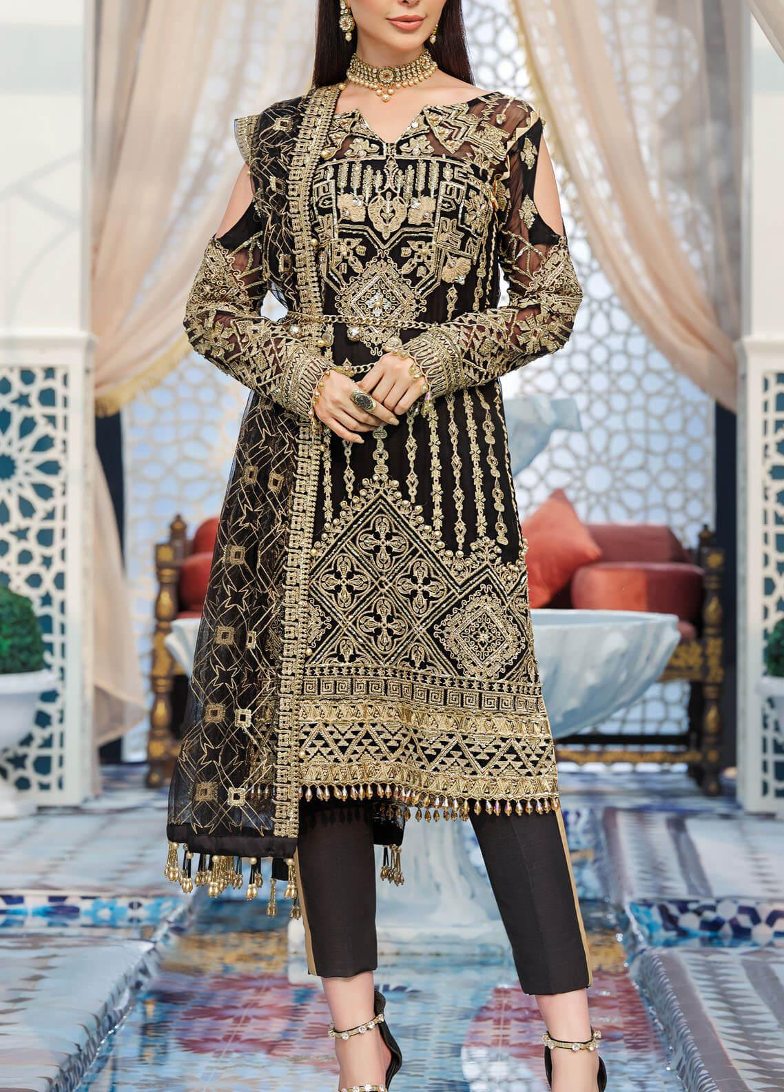 Adila by Gulaal Embroidered Chiffon Unstitched 3 Piece Suit GL20A D-8 SOUHAILE - Luxury Formal Collection