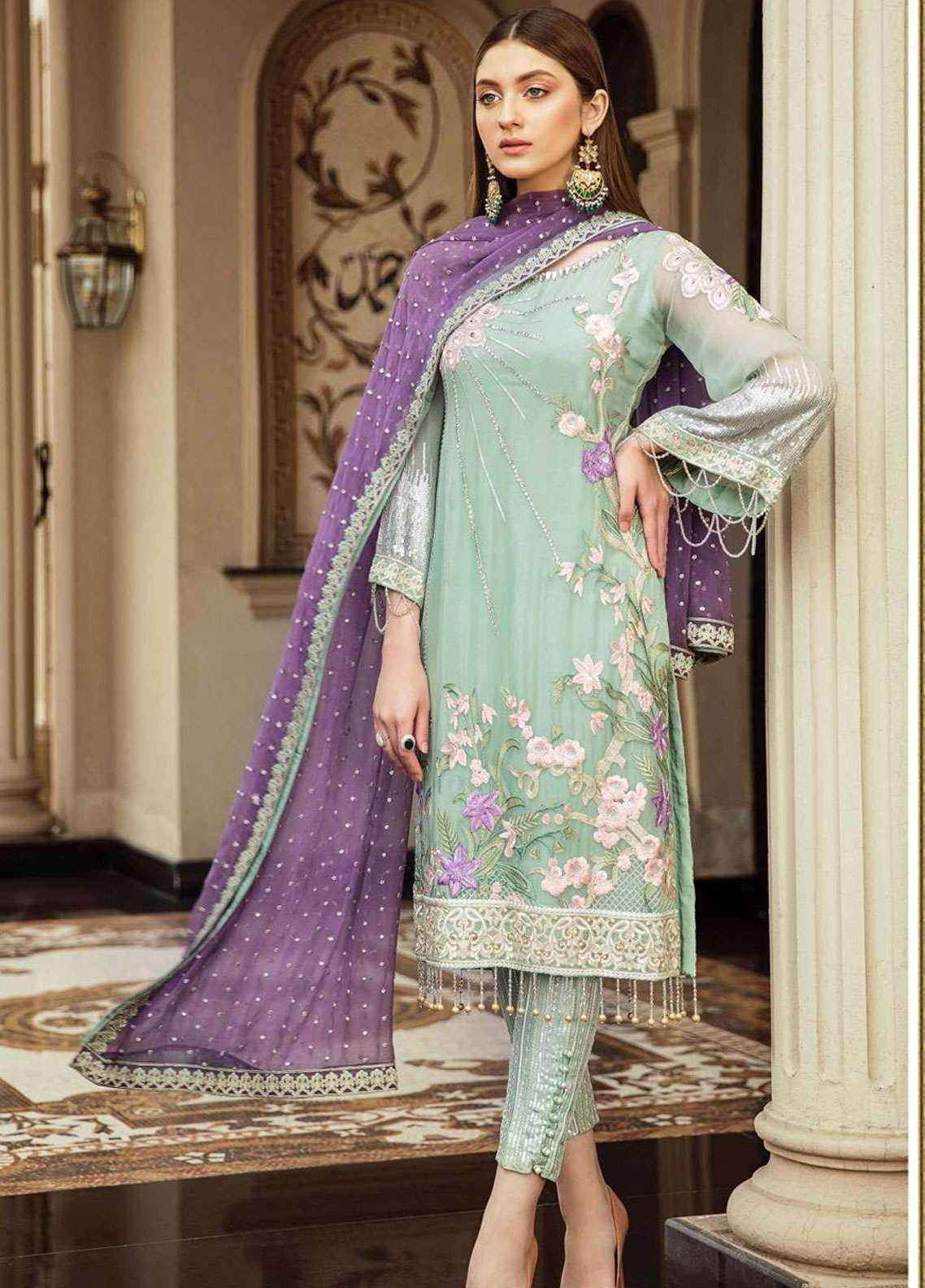 Afrozeh Embroidered Chiffon Unstitched 3 Piece Suit AF19C 01 IRISH MINT - Luxury Collection