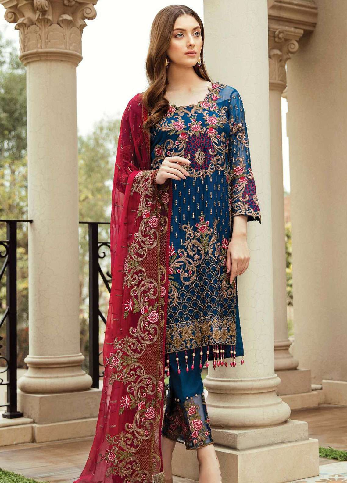 Afrozeh Embroidered Chiffon Unstitched 3 Piece Suit AF19C 02 PRUSSIAN VINES - Luxury Collection