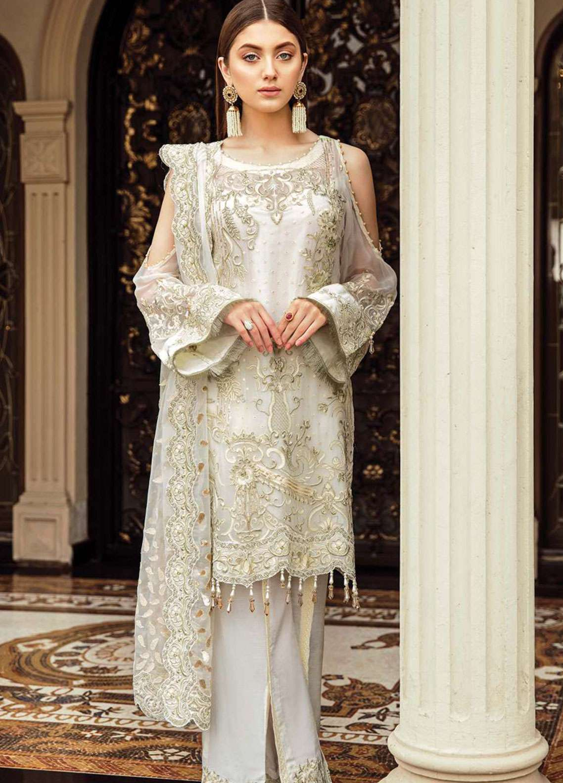 Afrozeh Embroidered Chiffon Unstitched 3 Piece Suit AF19C 03 OCEAN PEARL - Luxury Collection