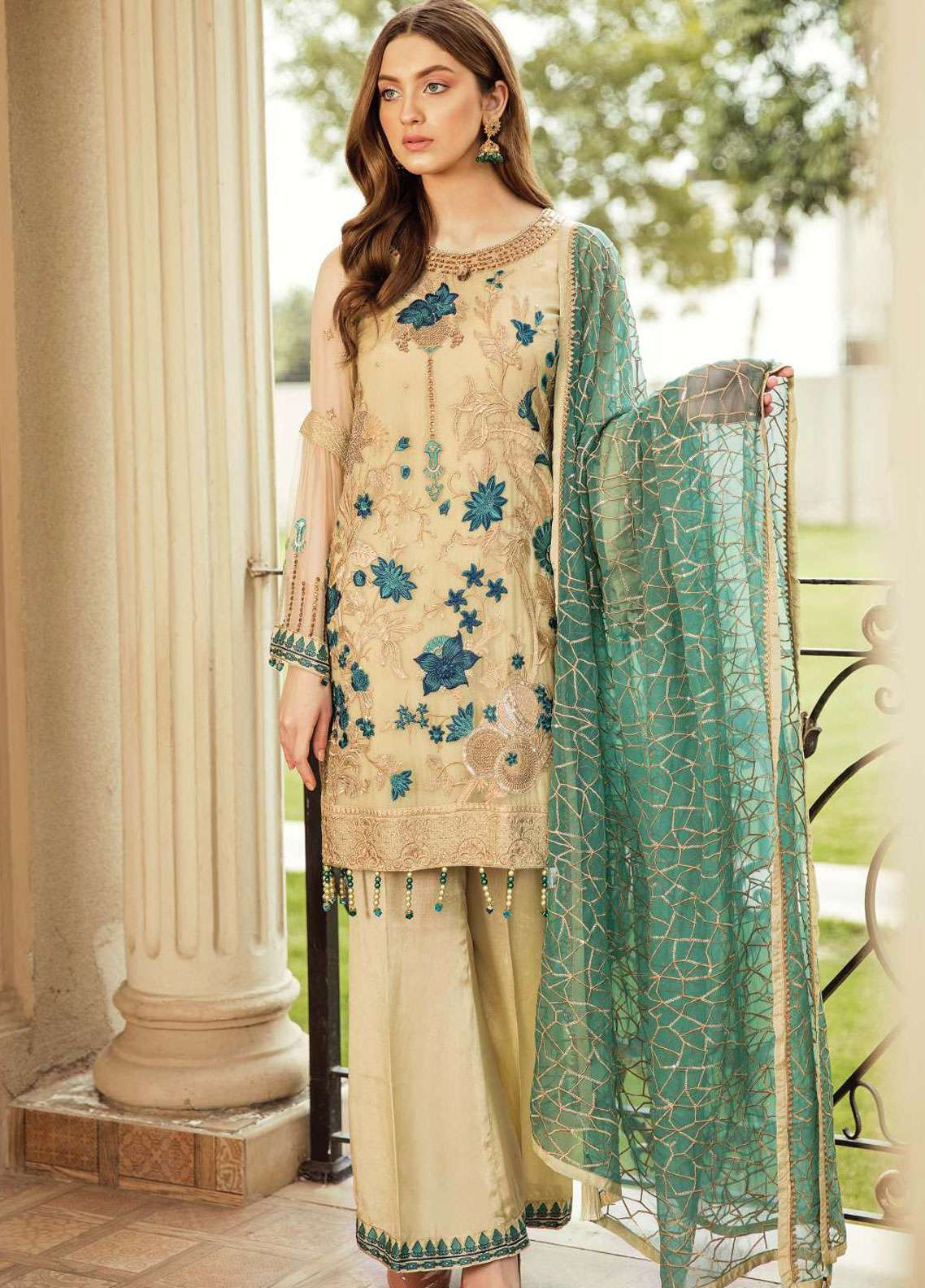 Afrozeh Embroidered Chiffon Unstitched 3 Piece Suit AF19C 04 DOVE WINGS - Luxury Collection