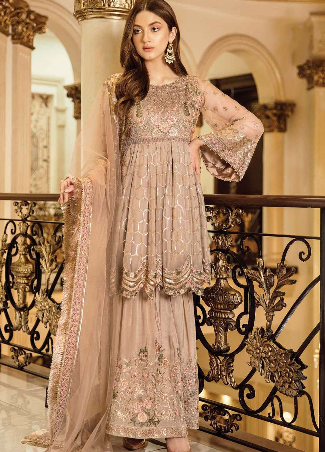 Afrozeh Embroidered Chiffon Unstitched 3 Piece Suit AF19C 05 RUSTIC GOLD - Luxury Collection