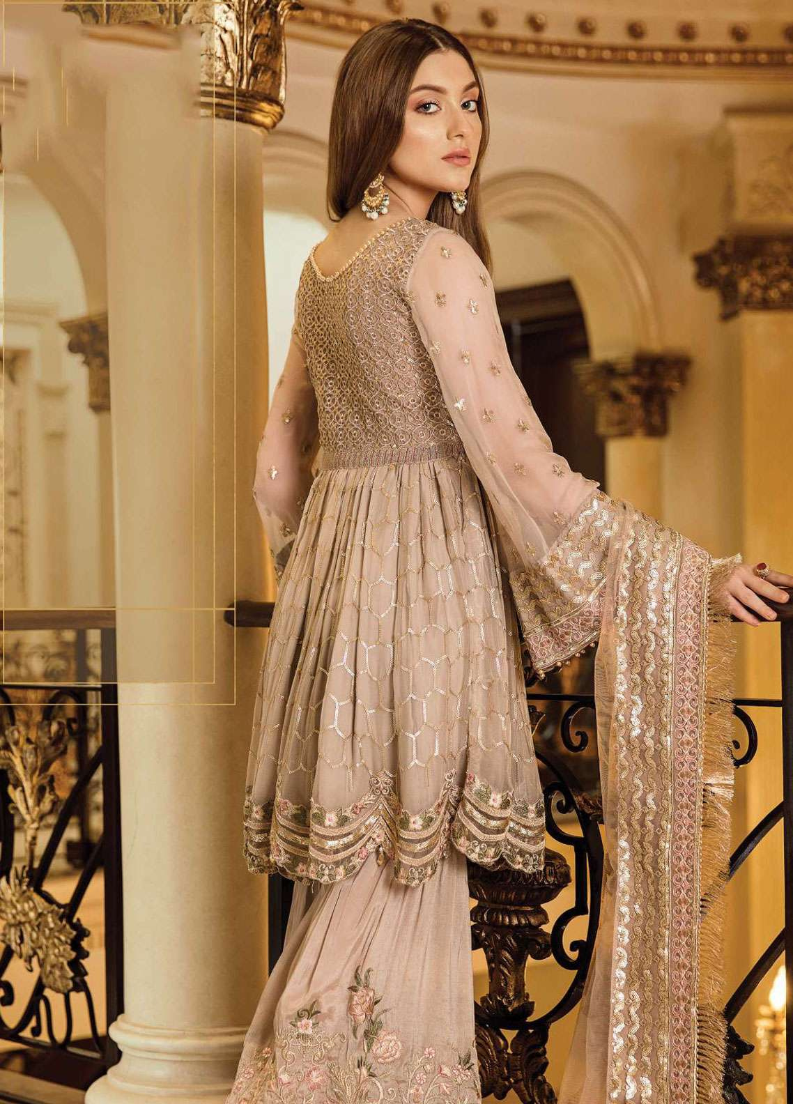 193b20075f Afrozeh Embroidered Chiffon Unstitched 3 Piece Suit AF19C 05 RUSTIC ...