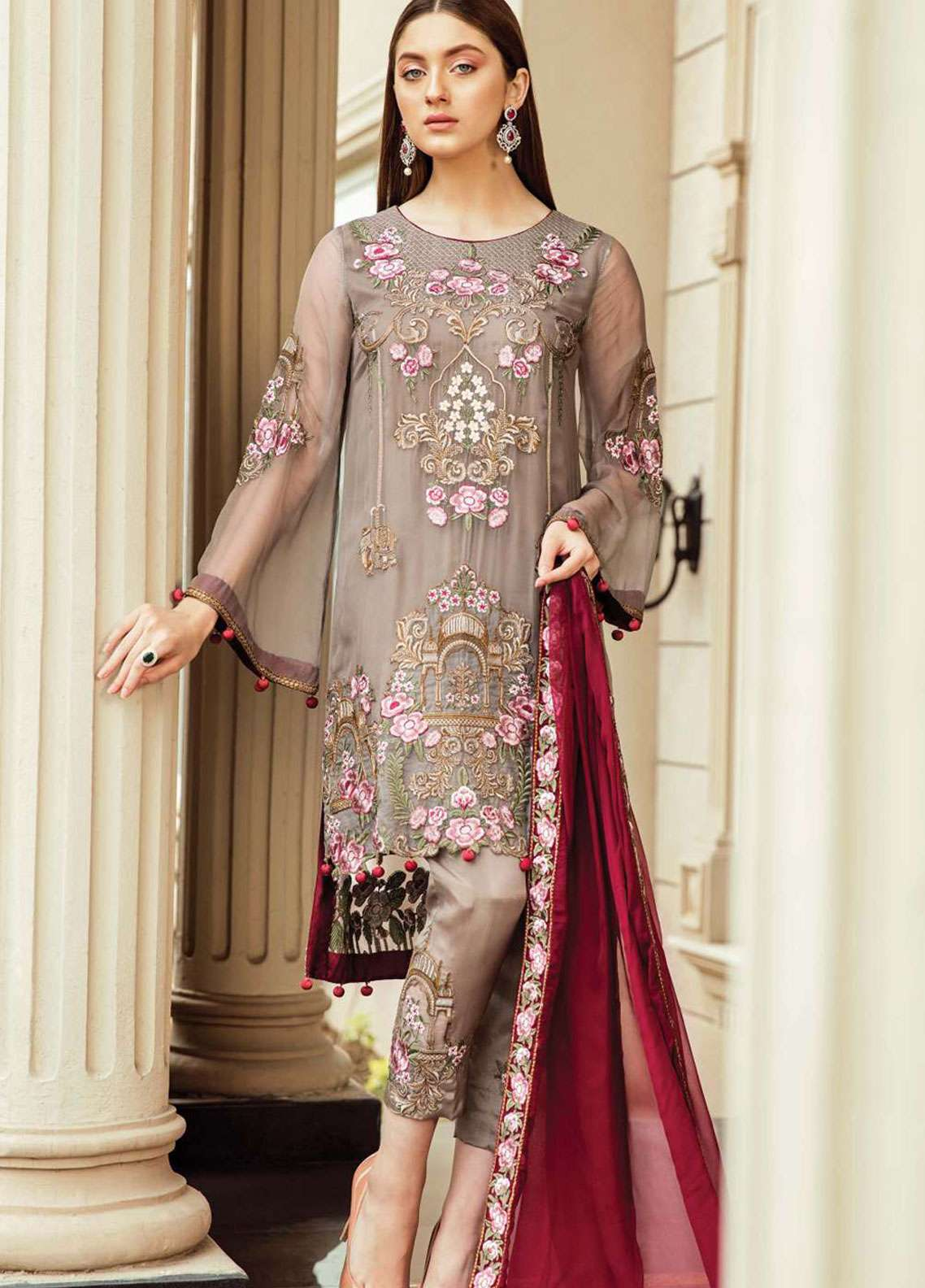 Afrozeh Embroidered Chiffon Unstitched 3 Piece Suit AF19C 06 FLORAL MINK - Luxury Collection