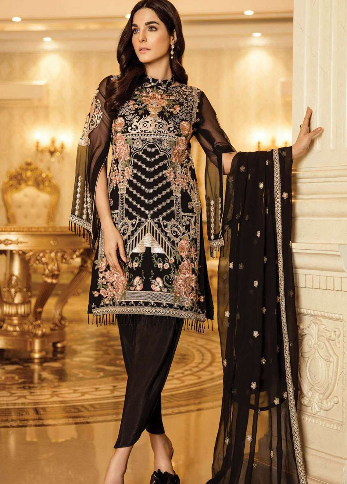 Afrozeh Embroidered Chiffon Unstitched 3 Piece Suit AF19C 07 MIDNIGHT JADE - Luxury Collection