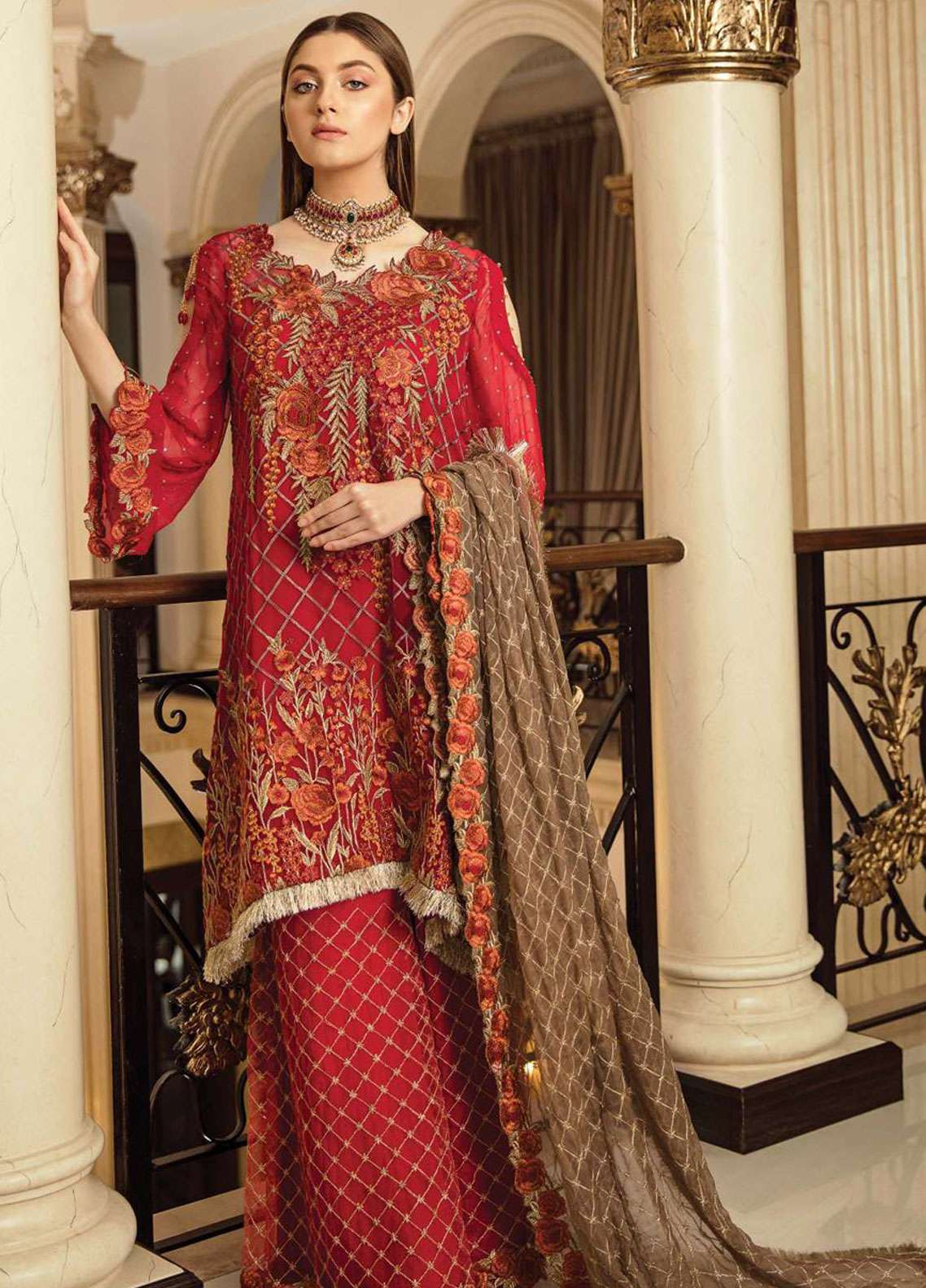 Afrozeh Embroidered Chiffon Unstitched 3 Piece Suit AF19C 08 CARNELIAN CRINKLE - Luxury Collection