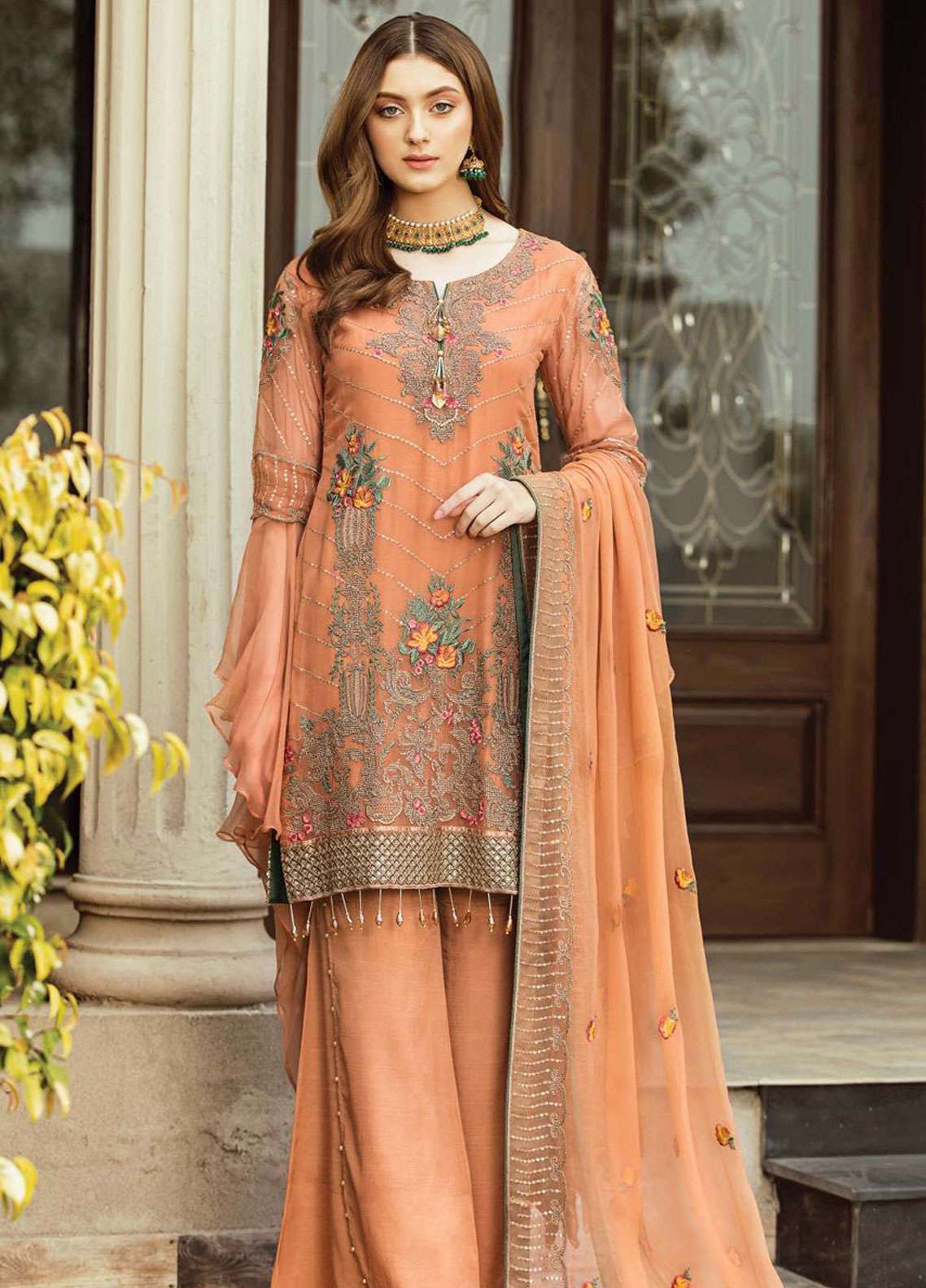 Afrozeh Embroidered Chiffon Unstitched 3 Piece Suit AF19C 09 OCHRE GLOW - Luxury Collection