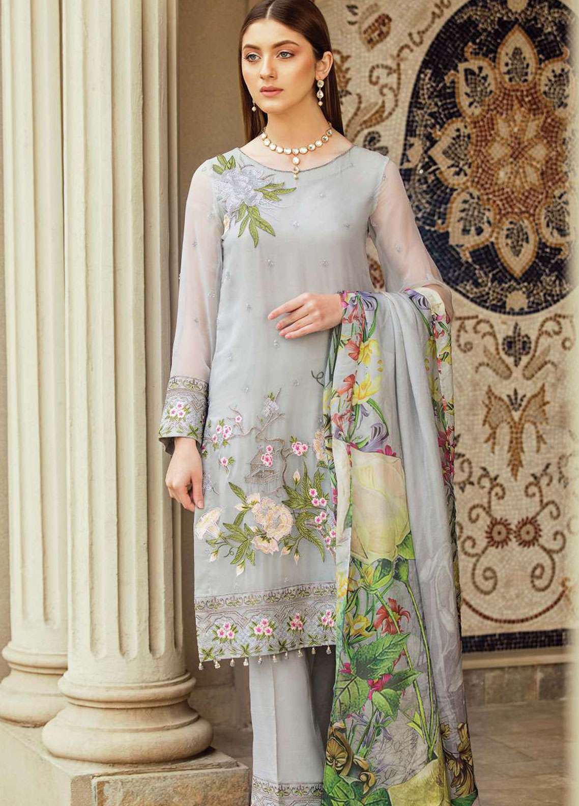 Afrozeh Embroidered Chiffon Unstitched 3 Piece Suit AF19C 10 LILIA GLAM - Luxury Collection