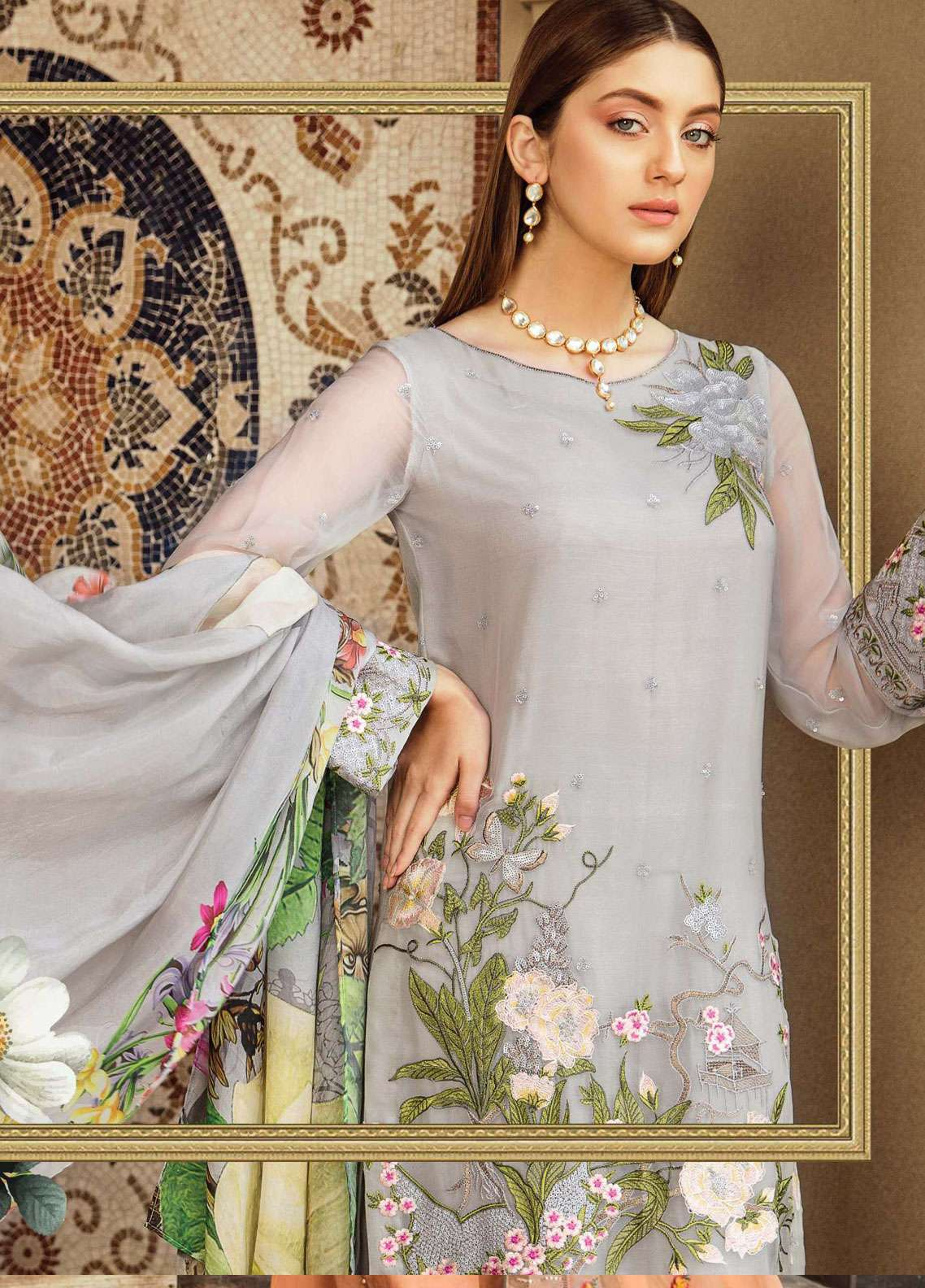 4ecddf014d Afrozeh Embroidered Chiffon Unstitched 3 Piece Suit AF19C 10 LILIA GLAM - Luxury  Collection