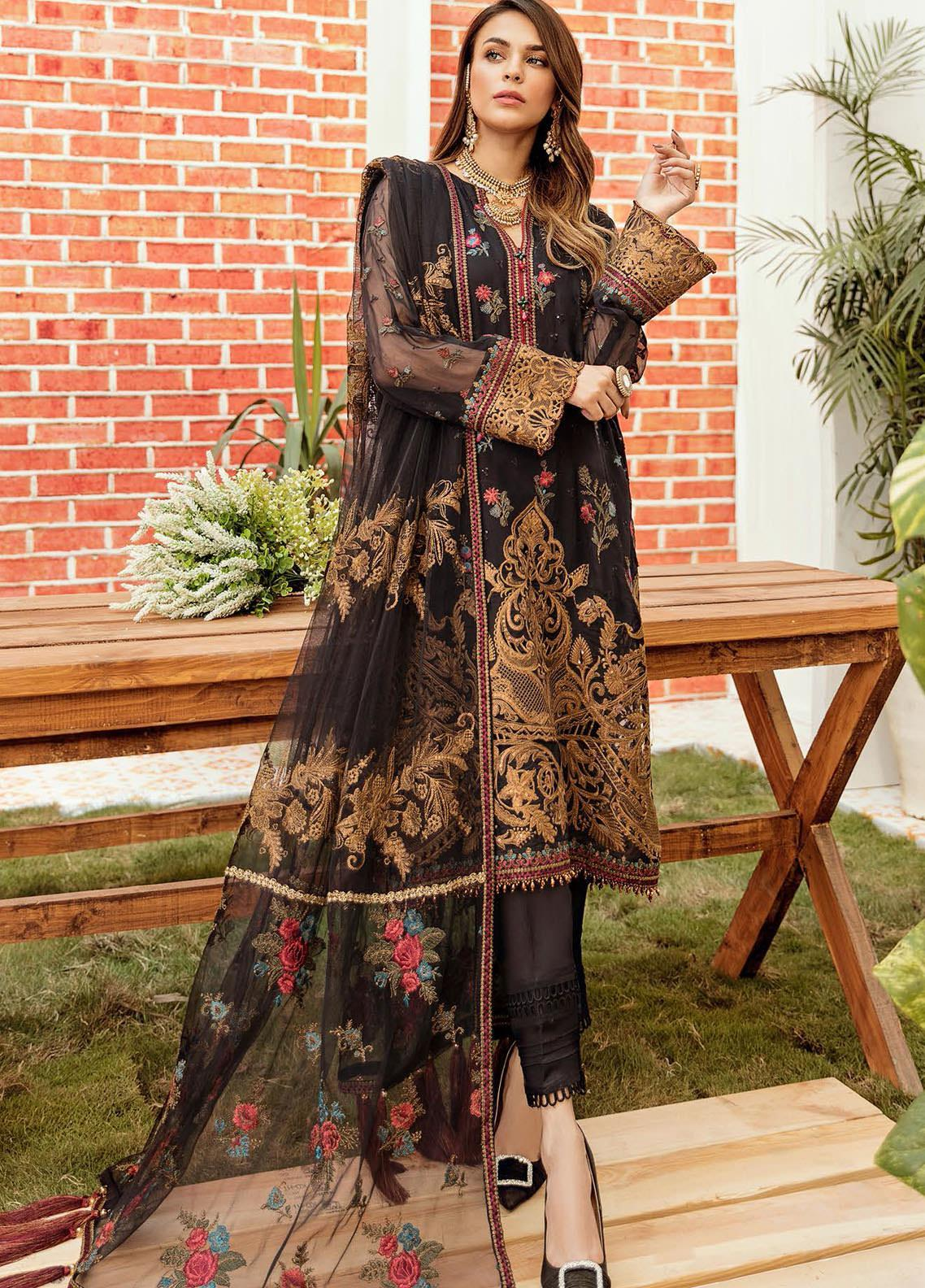 La Fleur by Afrozeh Embroidered Chiffon Unstitched 3 Piece Suit AF20LF 01 BLACK BEAUTY - Luxury Collection