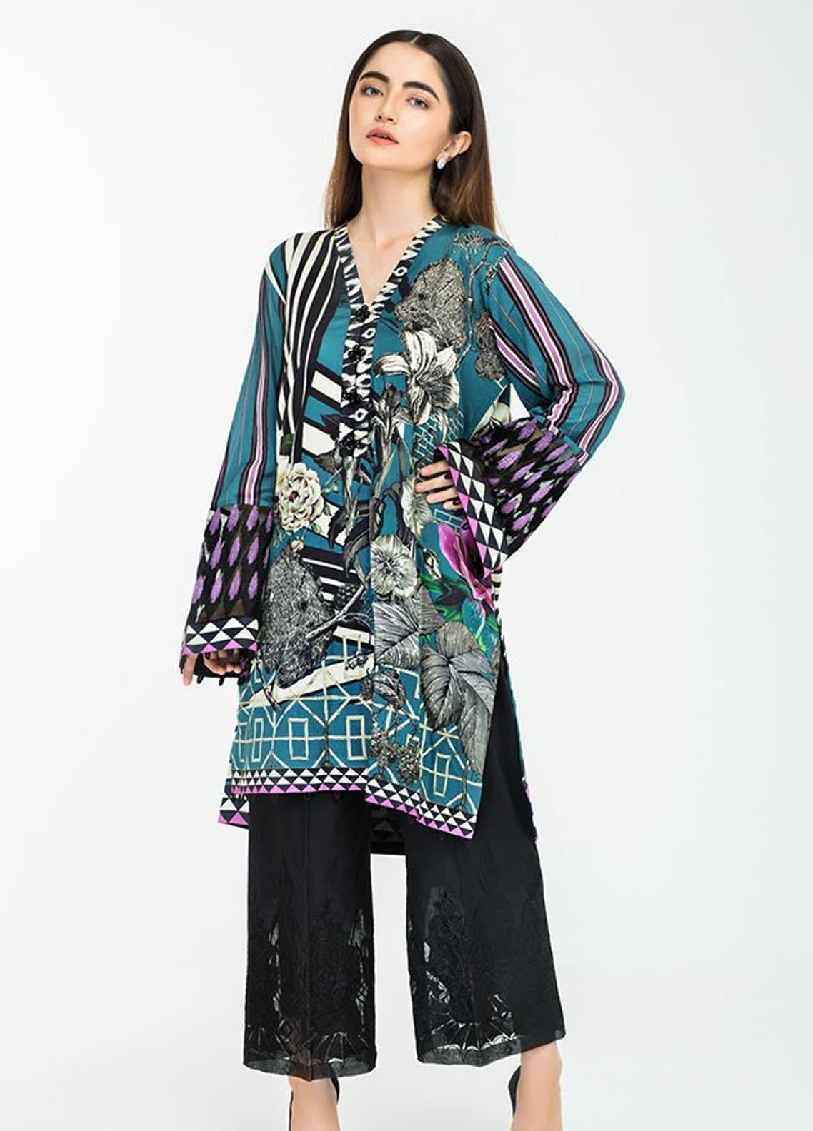 Afrozeh Embroidered Lawn Stitched Kurtis 07 Ocean Fantasy