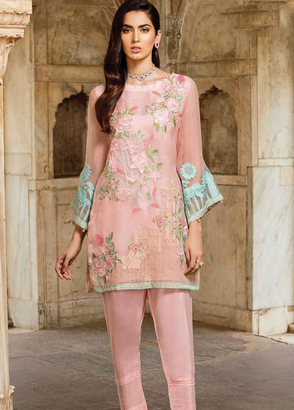 Afrozeh Embroidered Organza Stitched 2 Piece Suit 01 SAND PINK