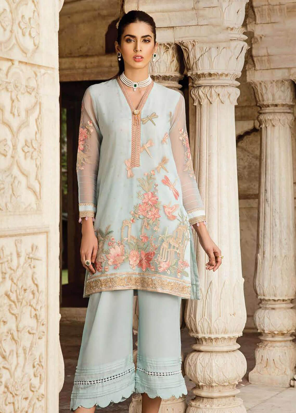 Afrozeh Embroidered Organza Stitched 2 Piece Suit 02 CELESTIAL BLUE