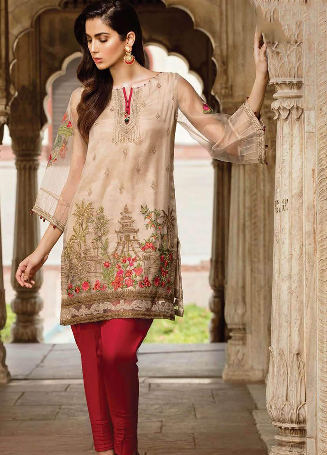 Afrozeh Embroidered Zari Net Stitched 2 Piece Suit 03 CRIMSON BEIGE