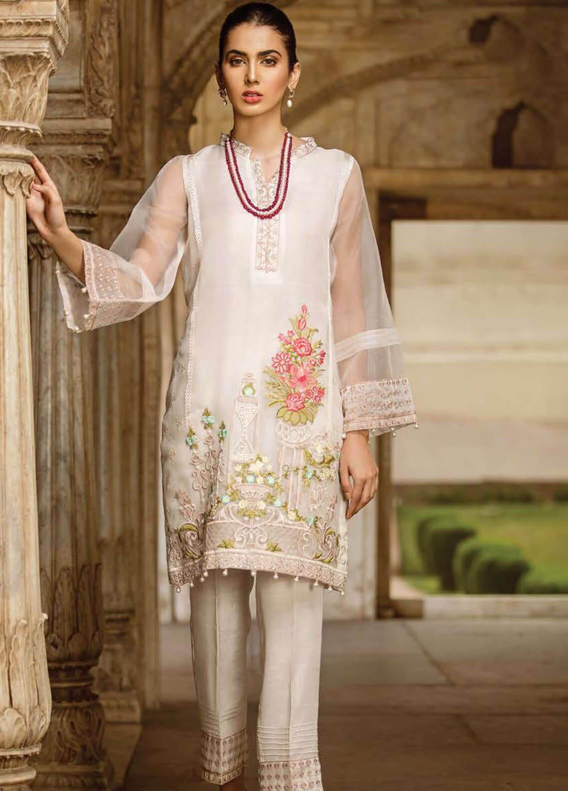 Afrozeh Embroidered Organza Stitched 2 Piece Suit 04 IVORY PORCELAIN