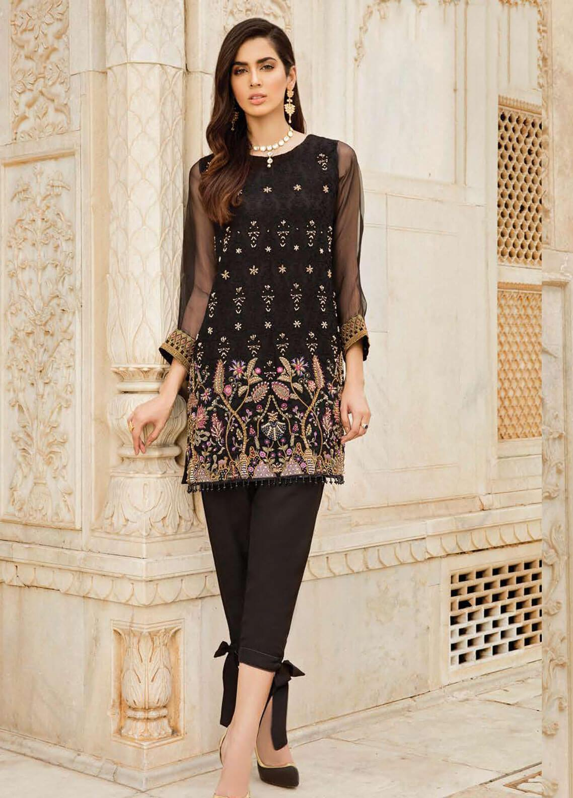 Afrozeh Embroidered Organza Stitched 2 Piece Suit 05 RAVEN BLACK