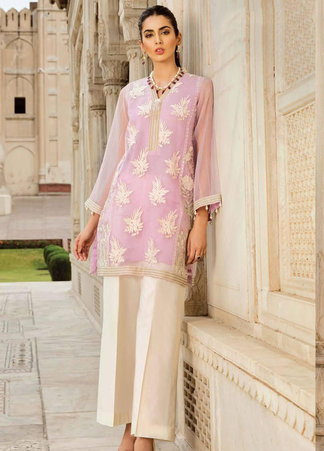 Afrozeh Embroidered Organza Stitched 2 Piece Suit 06 PASTEL LAVENDER