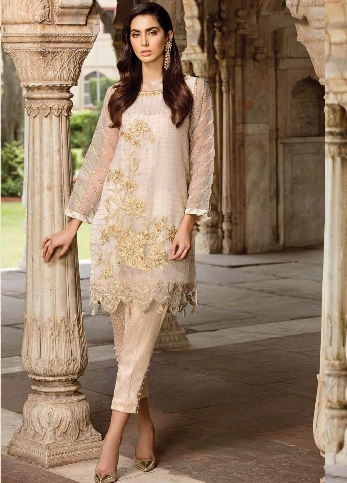 Afrozeh Embroidered Organza Stitched 2 Piece Suit 07 CREAMY GOLD