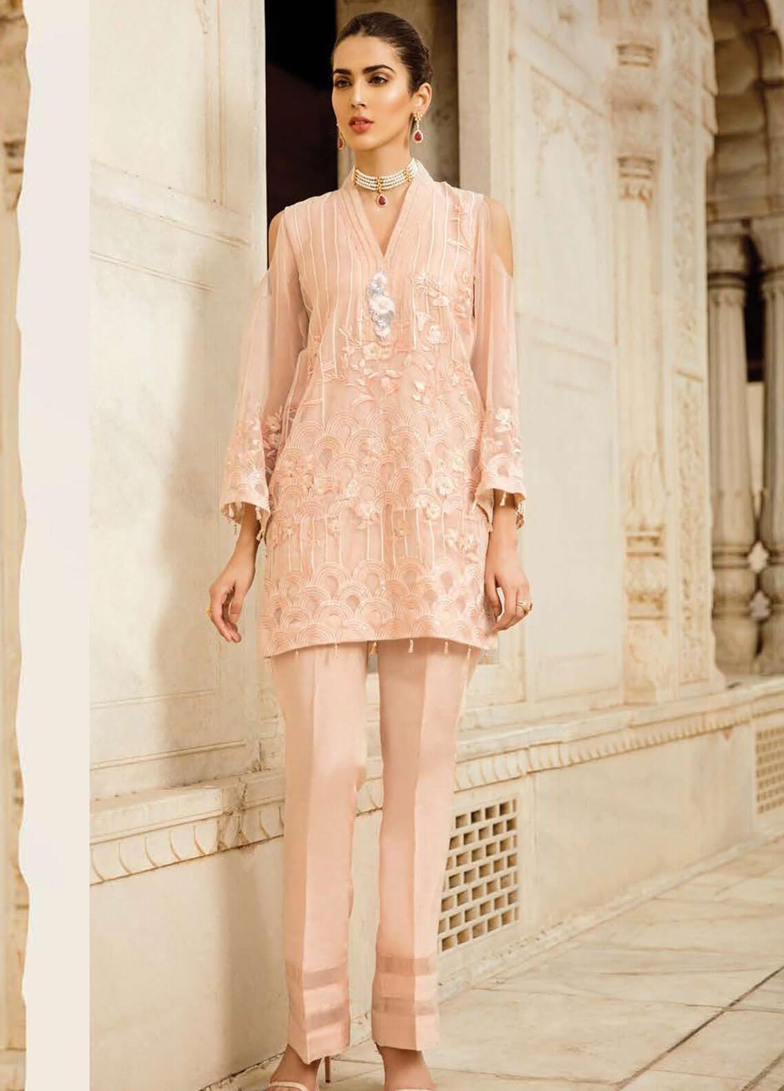 Afrozeh Embroidered Organza Stitched 2 Piece Suit 08 NAIVE PEACH