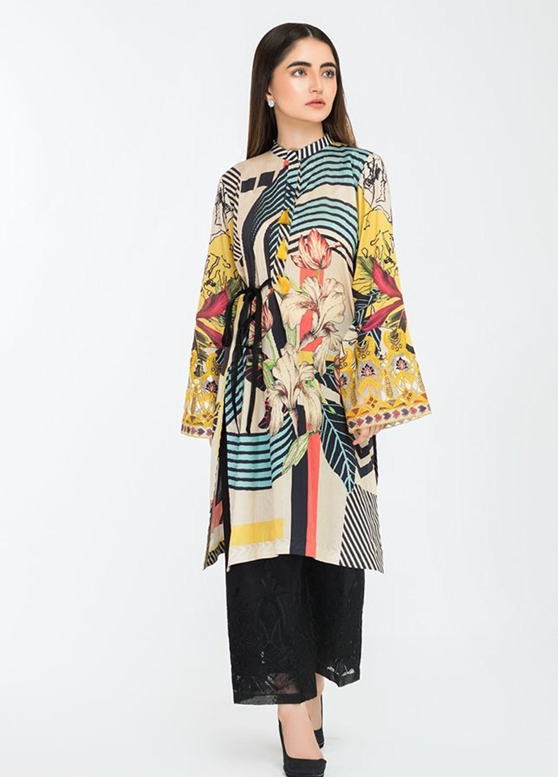 Afrozeh Embroidered Lawn Stitched Kurtis 09 Midnight Galaxy