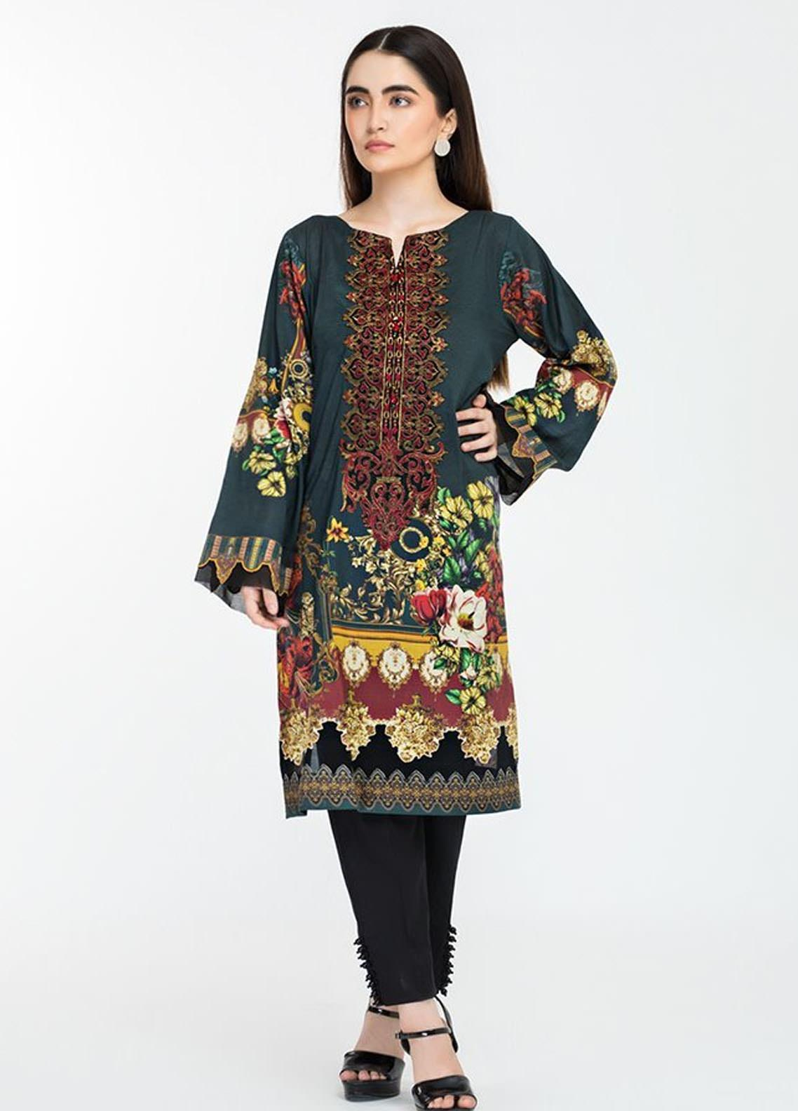 Afrozeh Embroidered Lawn Stitched Kurtis 08 Blissfull Green