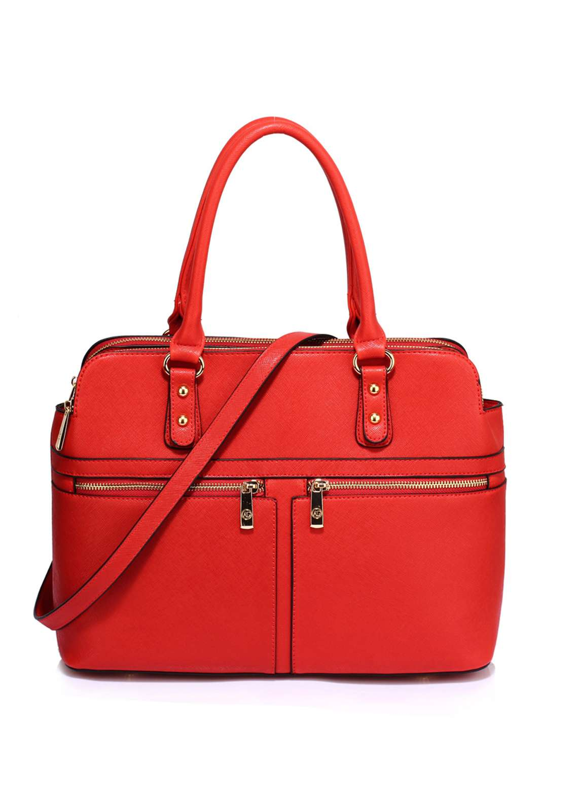 Anna Grace London Soft Faux Leather Shoulder Bags for Women Red with Plain Texture