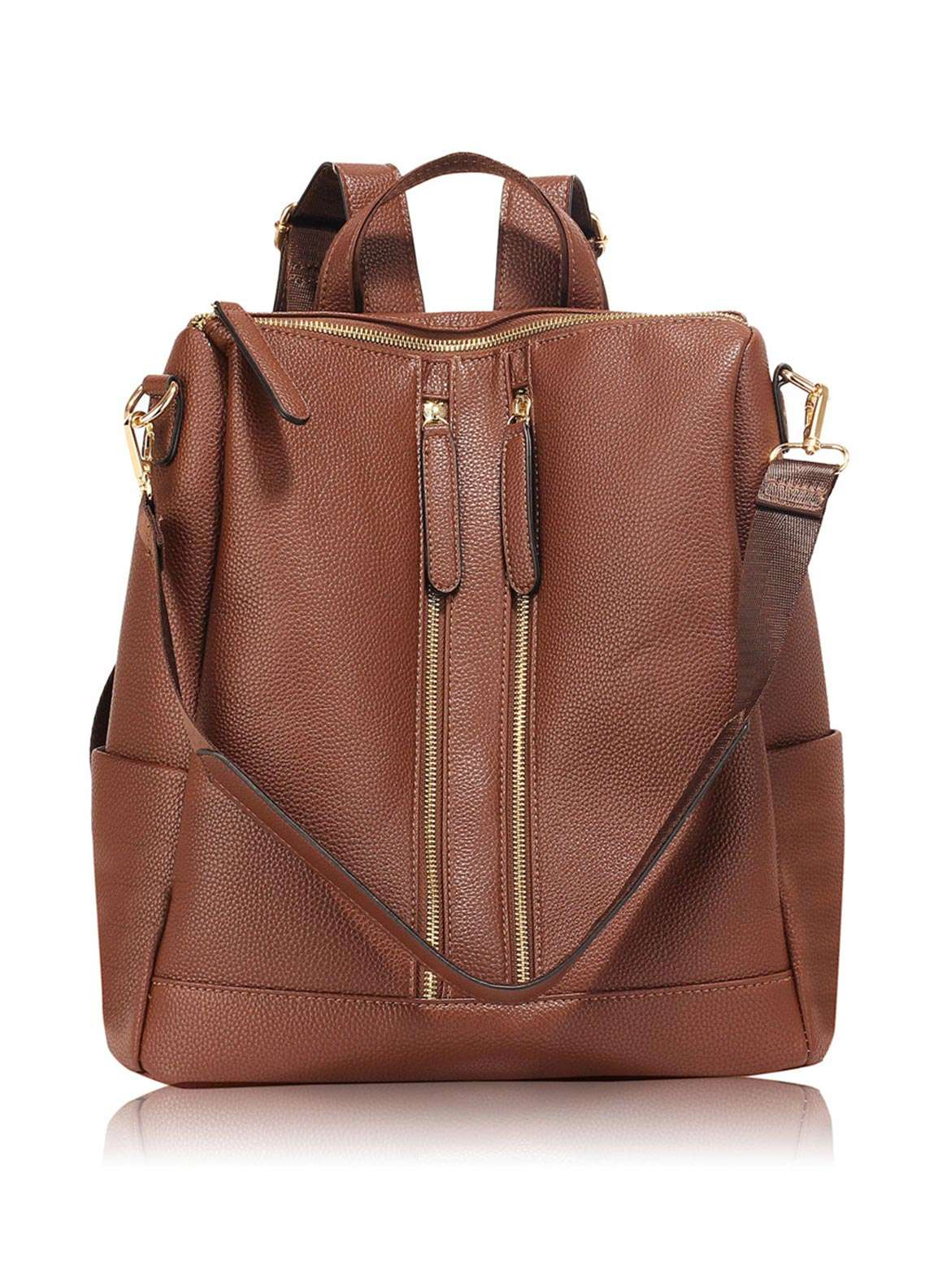 Anna Grace London Smooth Backpack Bags  for Women  Coffee with Grainy Texture
