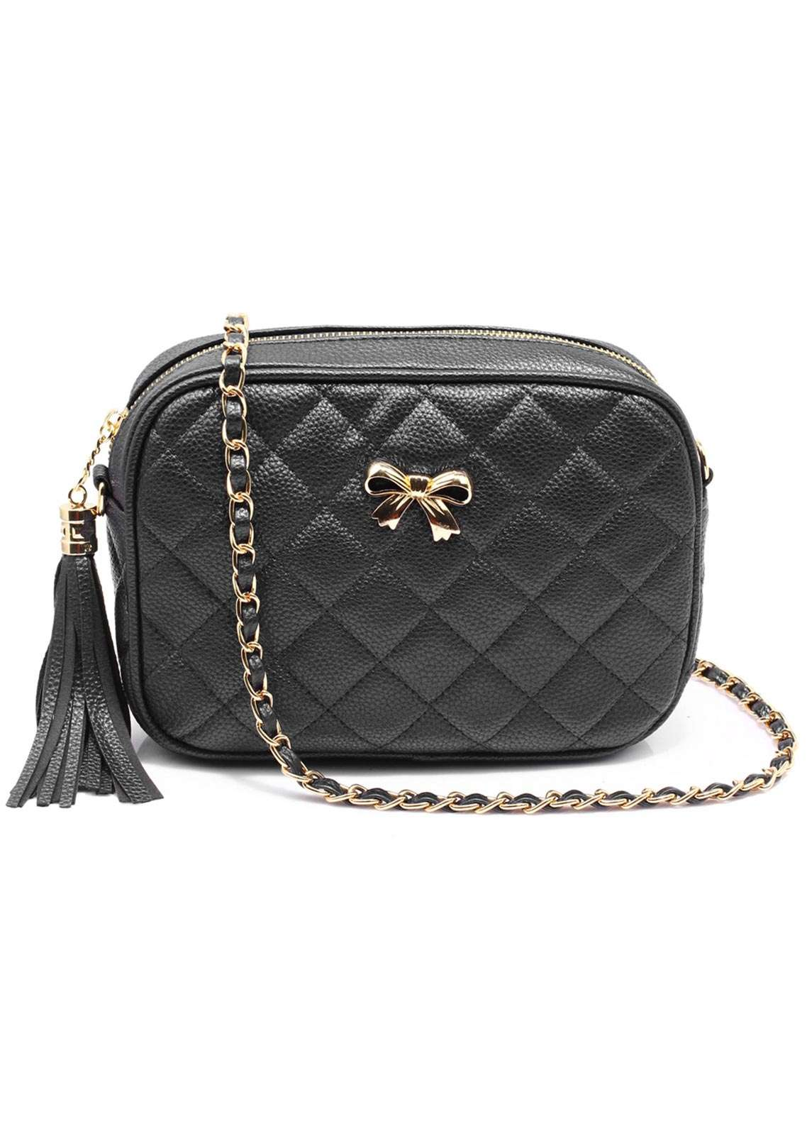 Anna Grace London Faux Leather Shoulder Bags for Women Black with Quilted Texture