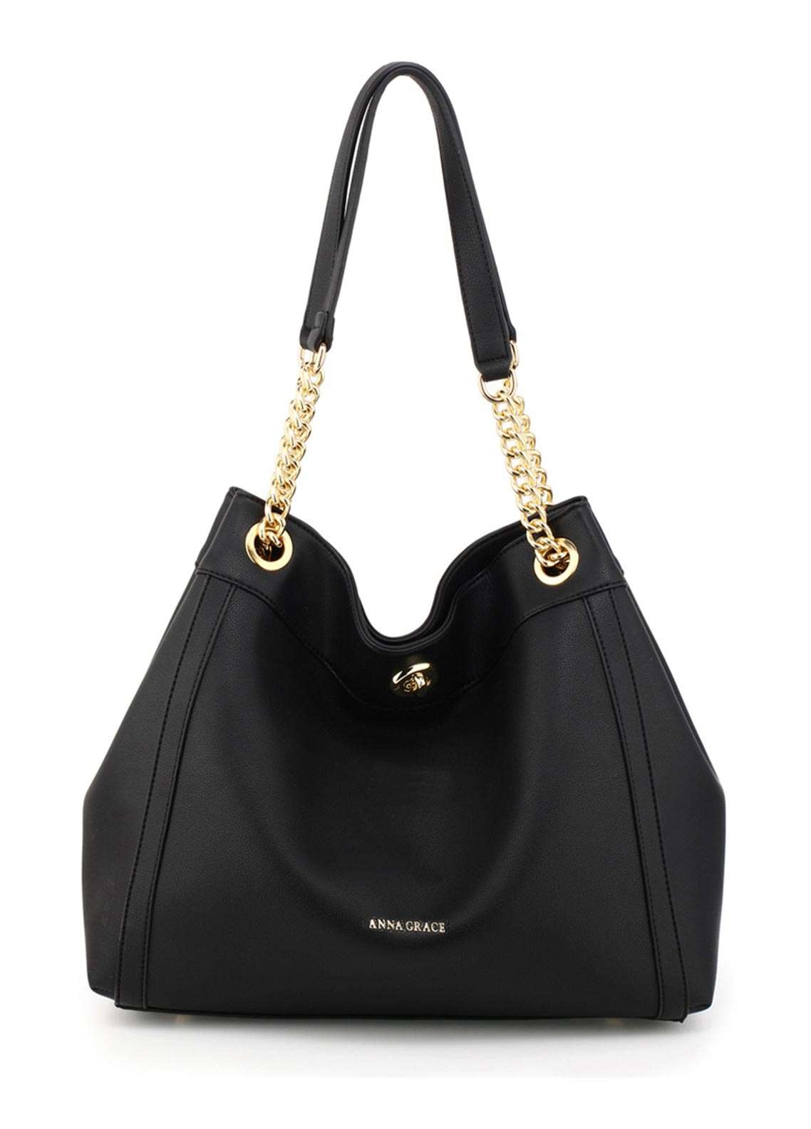 Anna Grace London Faux Leather Hobo Bags for Women Black with Smooth Texture
