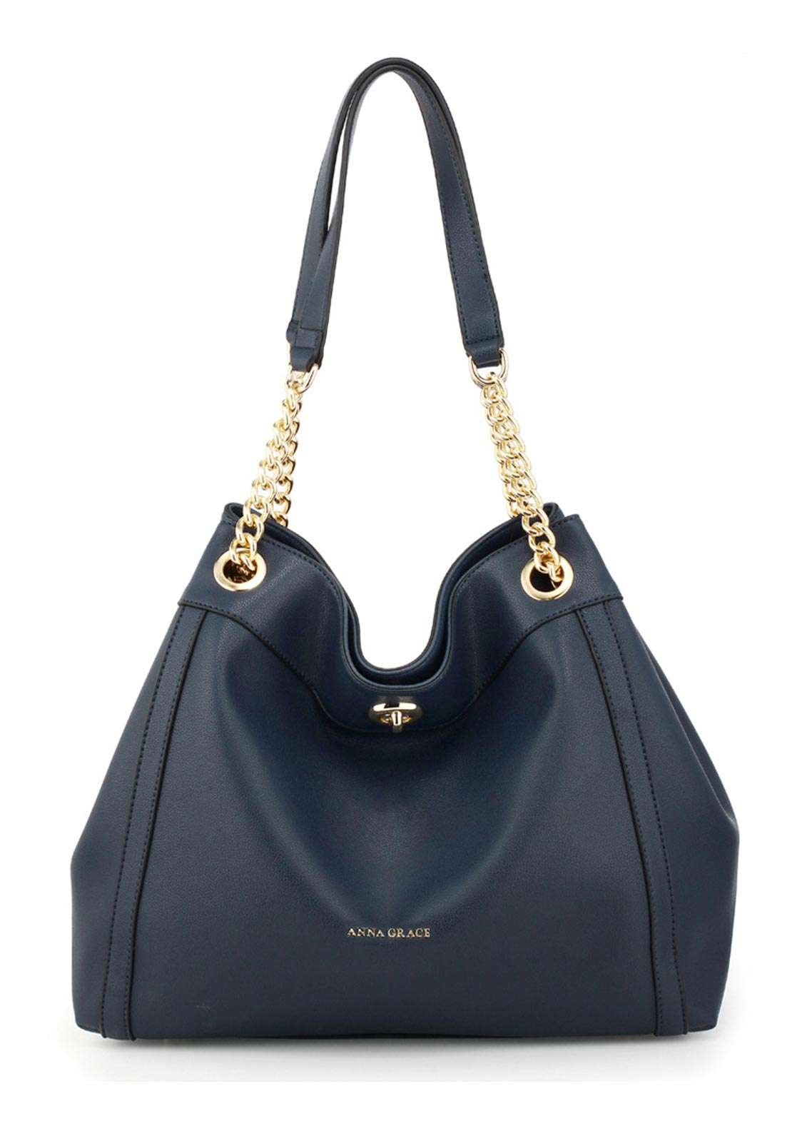 Anna Grace London Faux Leather Hobo Bags for Women Navy with Smooth Texture