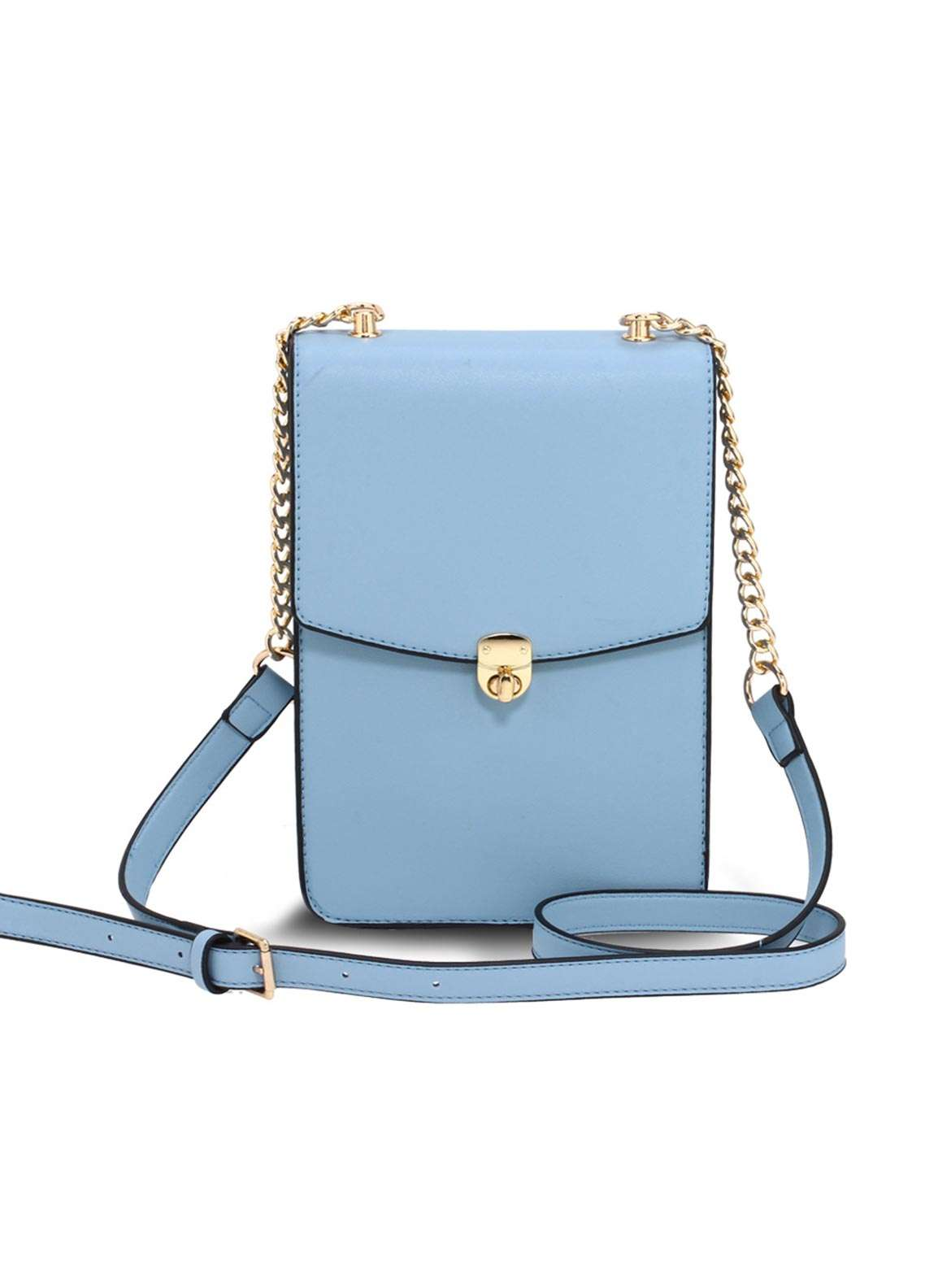 Anna Grace London Faux Leather Crossbody  Bags  for Women  Blue with Smooth Texture