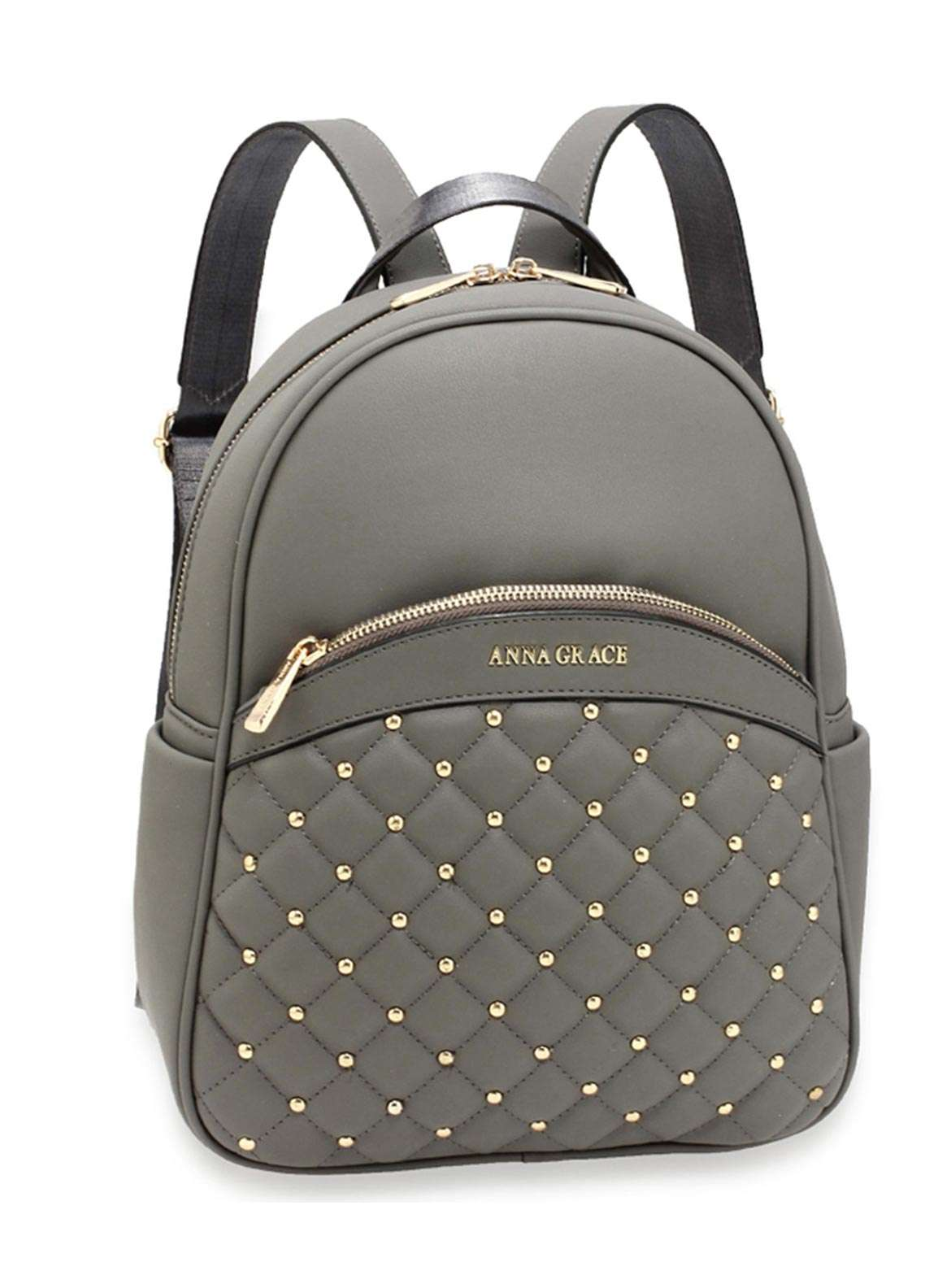 Anna Grace London Faux Leather Backpack Bags  for Women  Grey with Smooth Texture