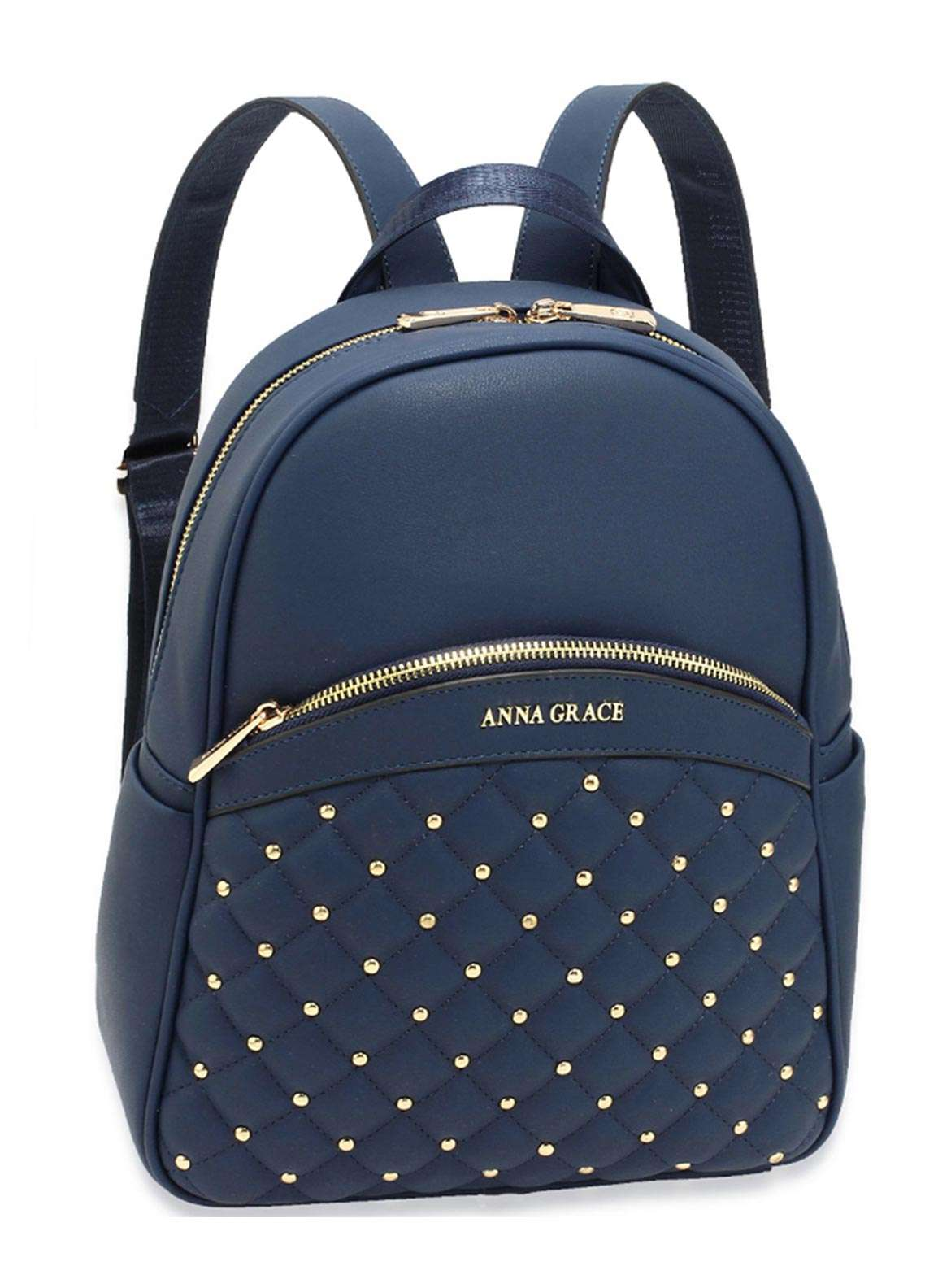 Anna Grace London Faux Leather Backpack Bags  for Women  Navy with Smooth Texture