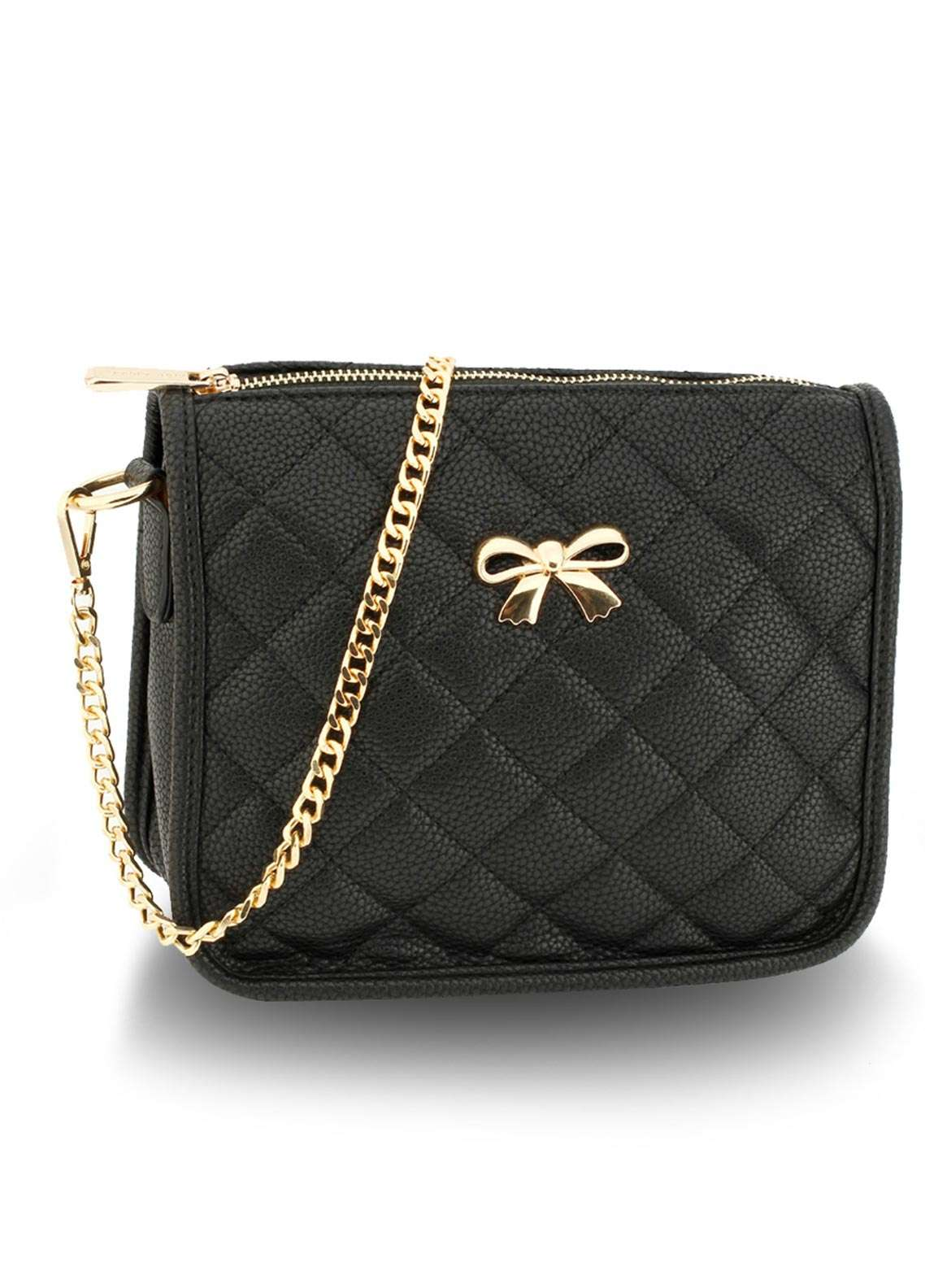 Anna Grace London Faux Leather Crossbody  Bags  for Women  Black with Quilted Texture