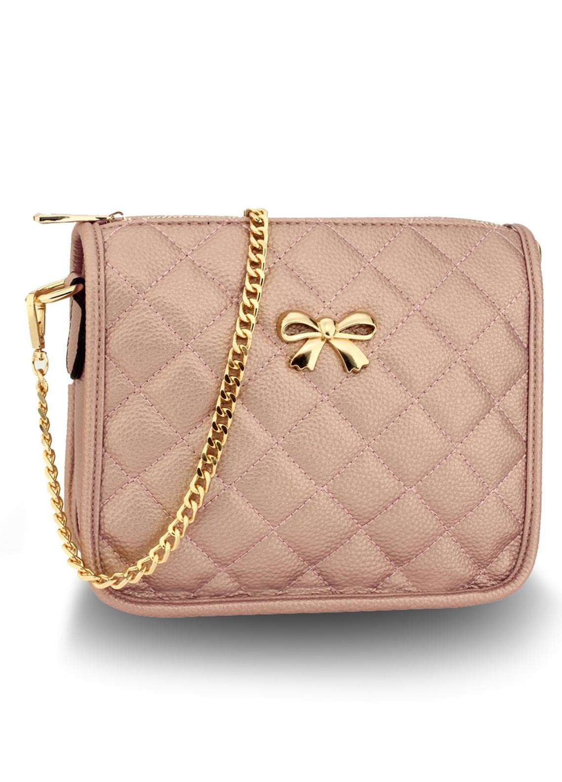 Anna Grace London Faux Leather Crossbody  Bags  for Women  Champagne with Quilted Texture
