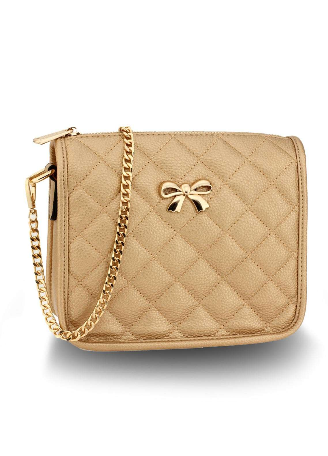 Anna Grace London Faux Leather Crossbody  Bags  for Women  Gold with Quilted Texture