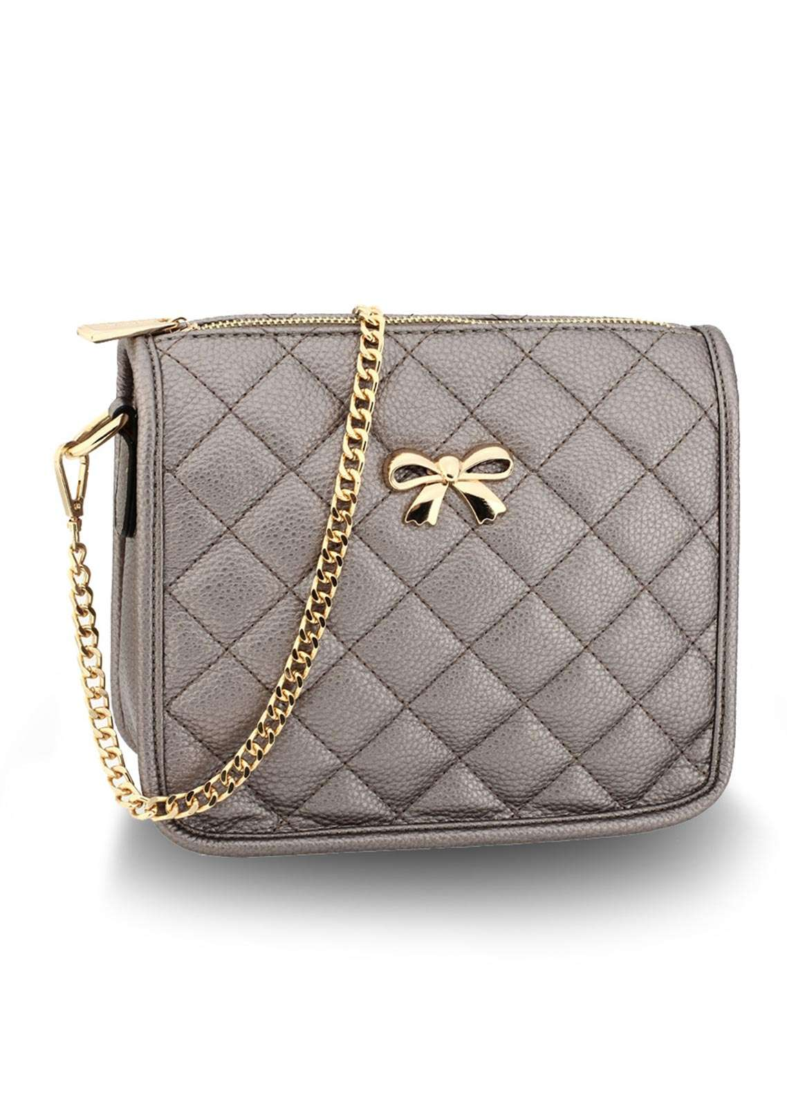 Anna Grace London Faux Leather Crossbody  Bags  for Women  Grey with Quilted Texture