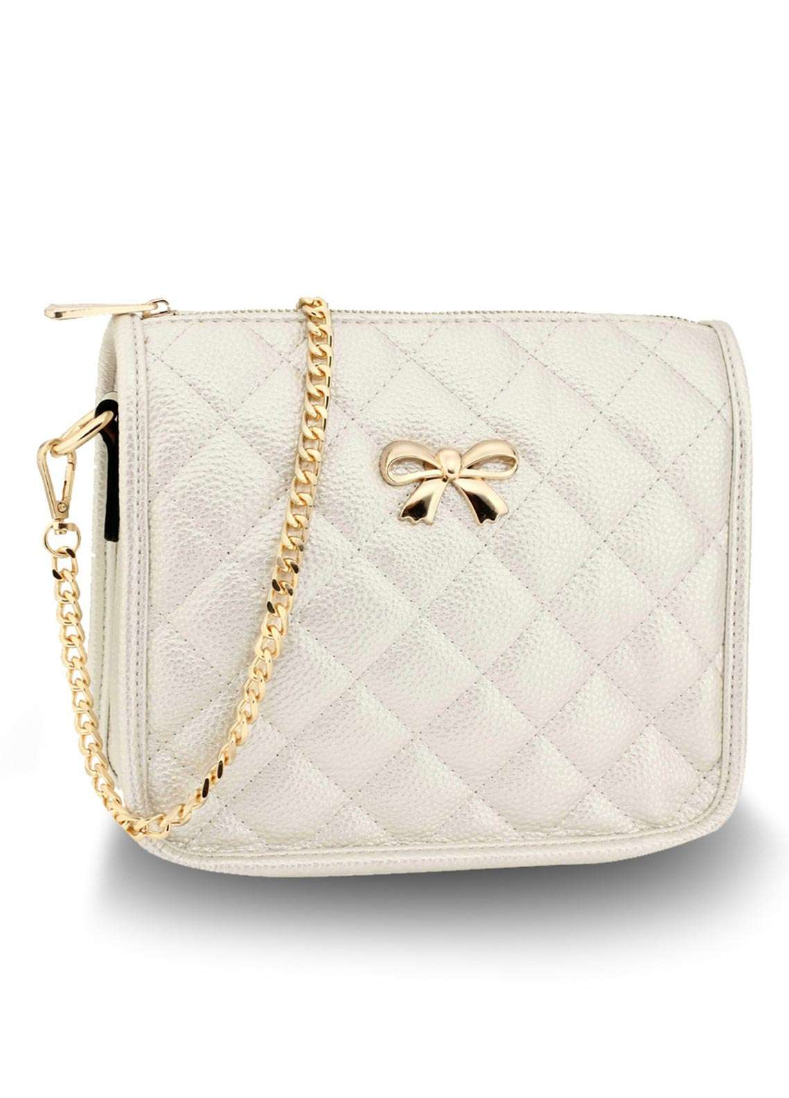 Anna Grace London Faux Leather Crossbody  Bags  for Women  Ivory with Quilted Texture